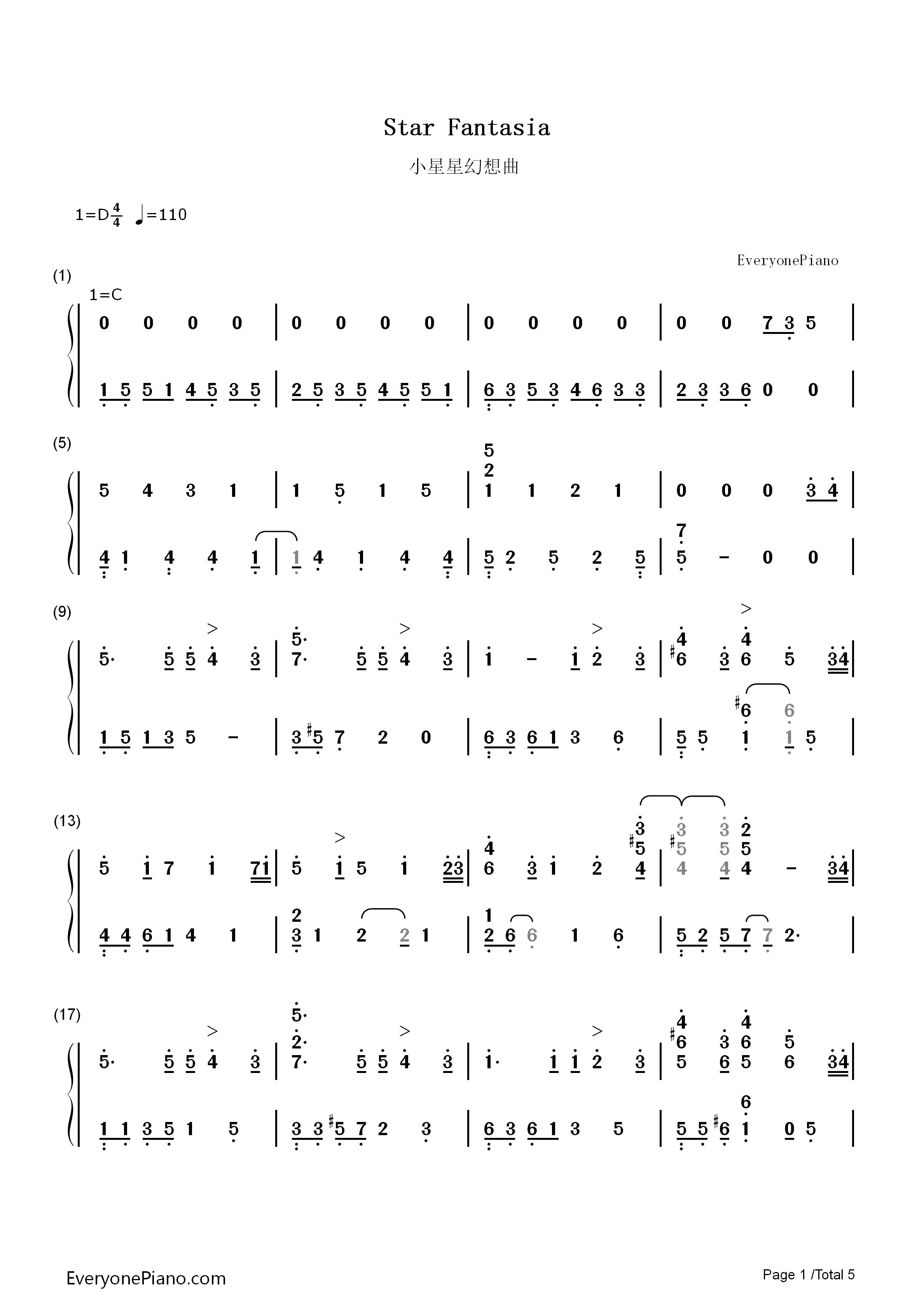 小星星幻想曲-v.k克双手简谱预览图片