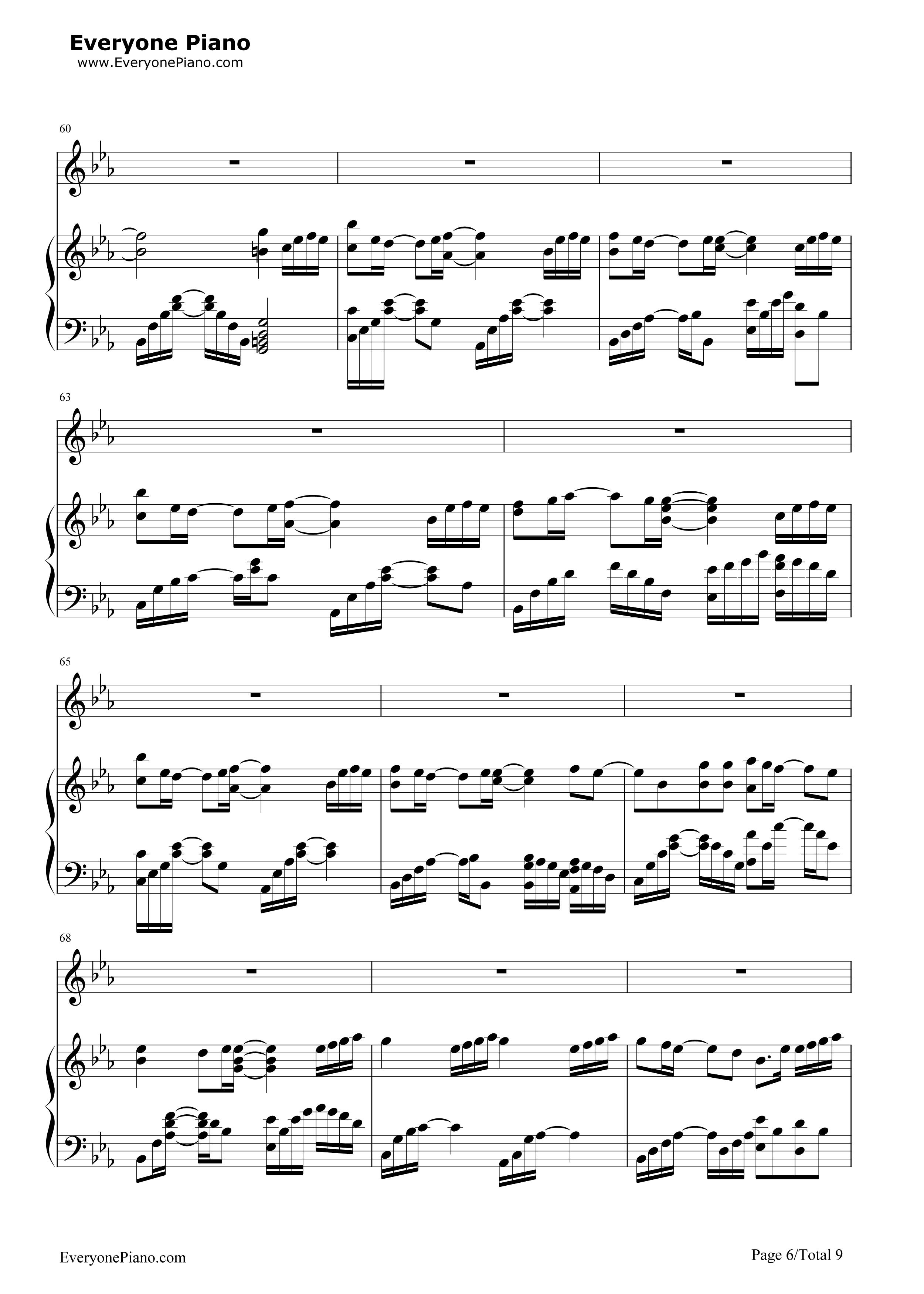 一半一半-洛天依五线谱预览6-钢琴谱(五线谱,双手简谱