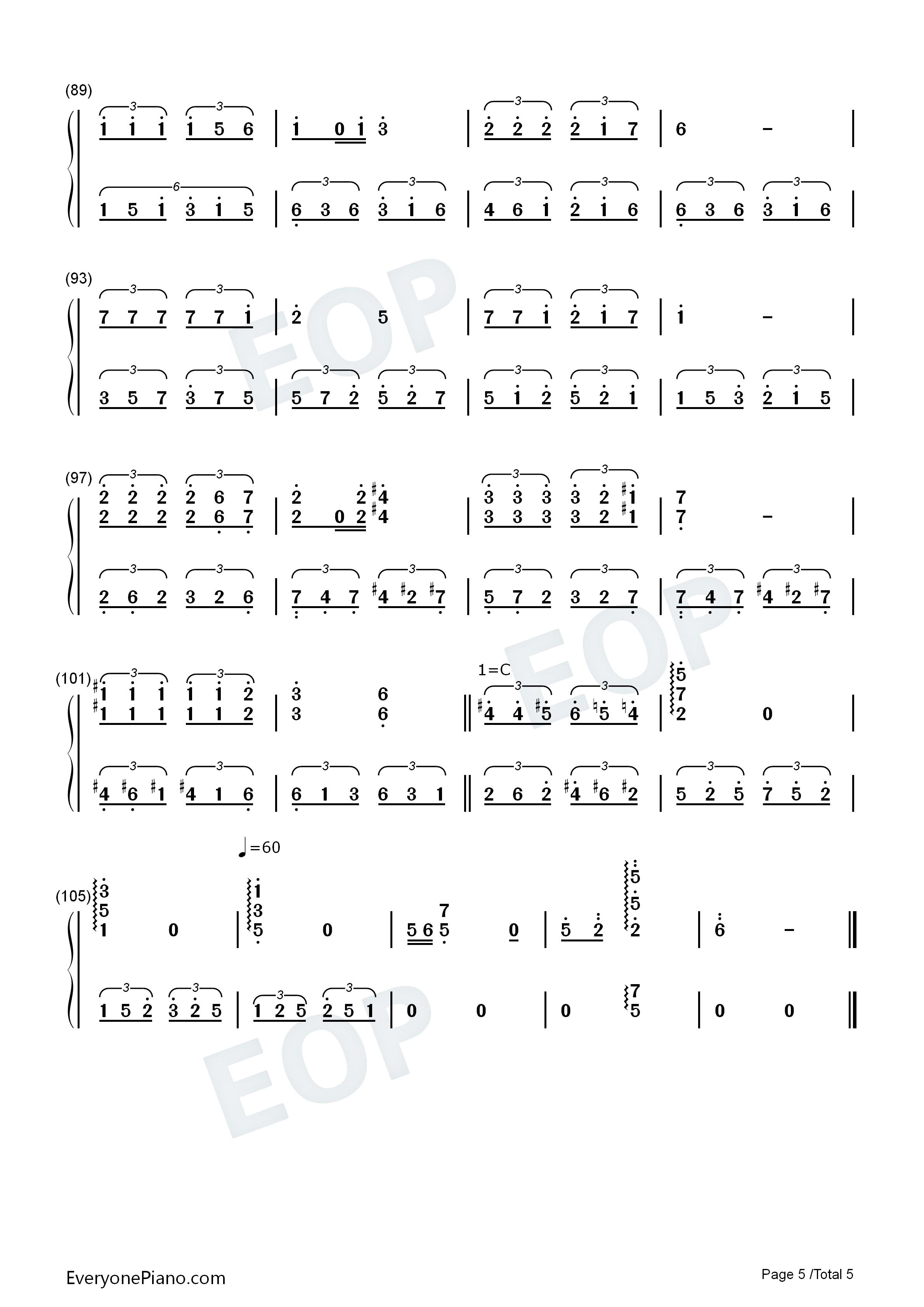 钢琴曲谱 流行 同桌的你-华丽版 同桌的你-华丽版双手简谱预览5