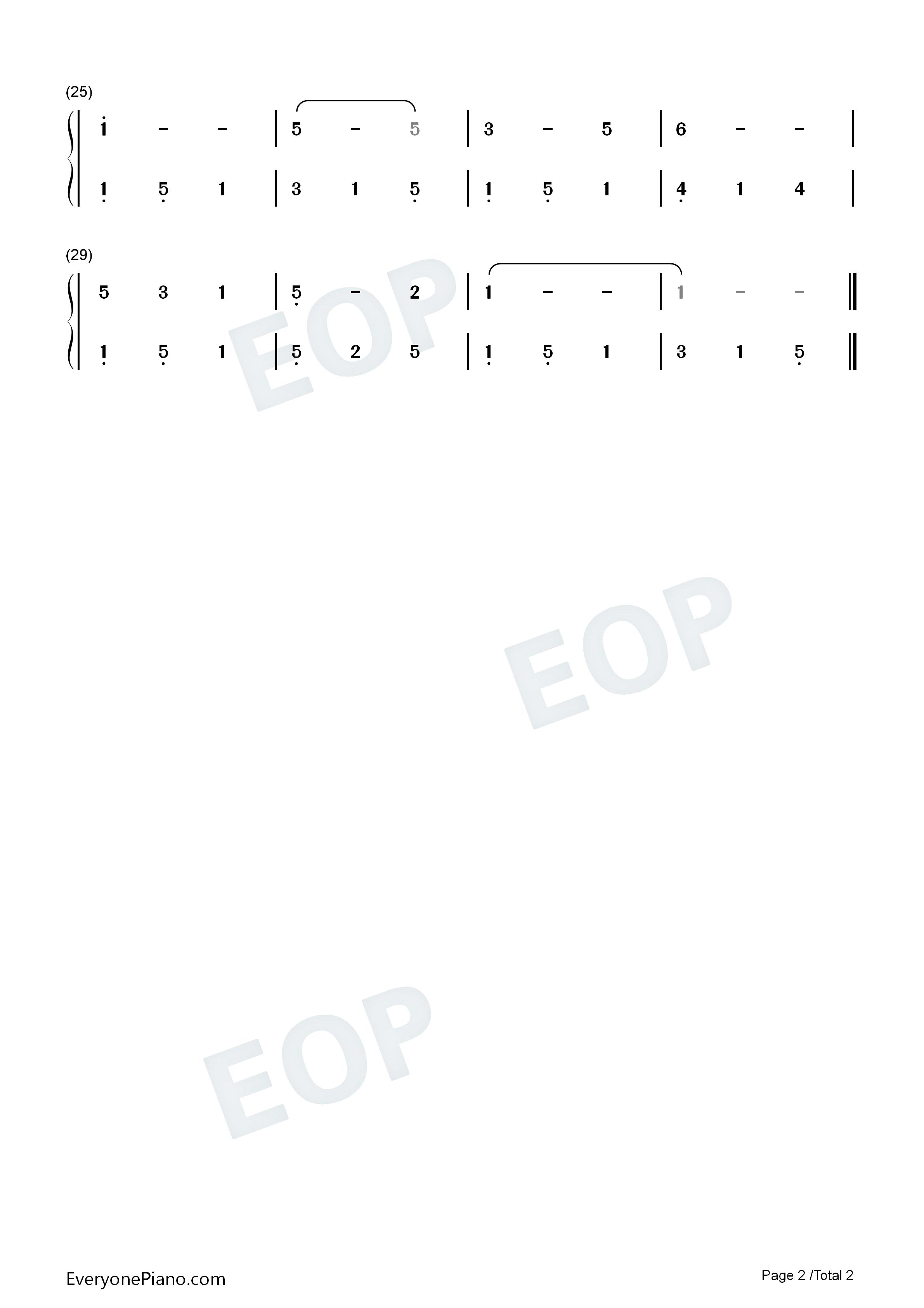 小白船-朝鲜童谣双手简谱预览2