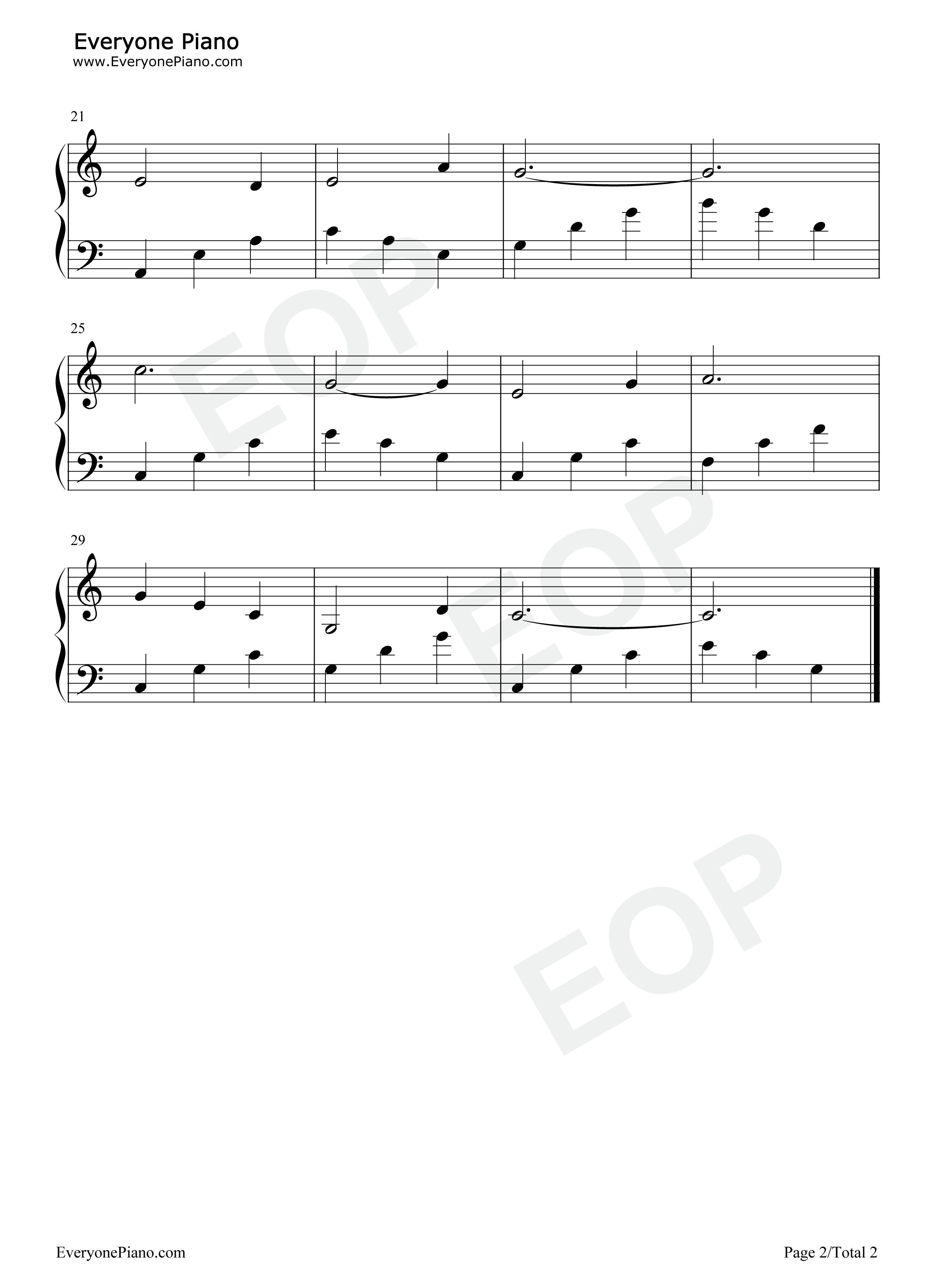 钢琴曲谱 儿歌 小白船-朝鲜童谣 小白船-朝鲜童谣五线谱预览2   仅供