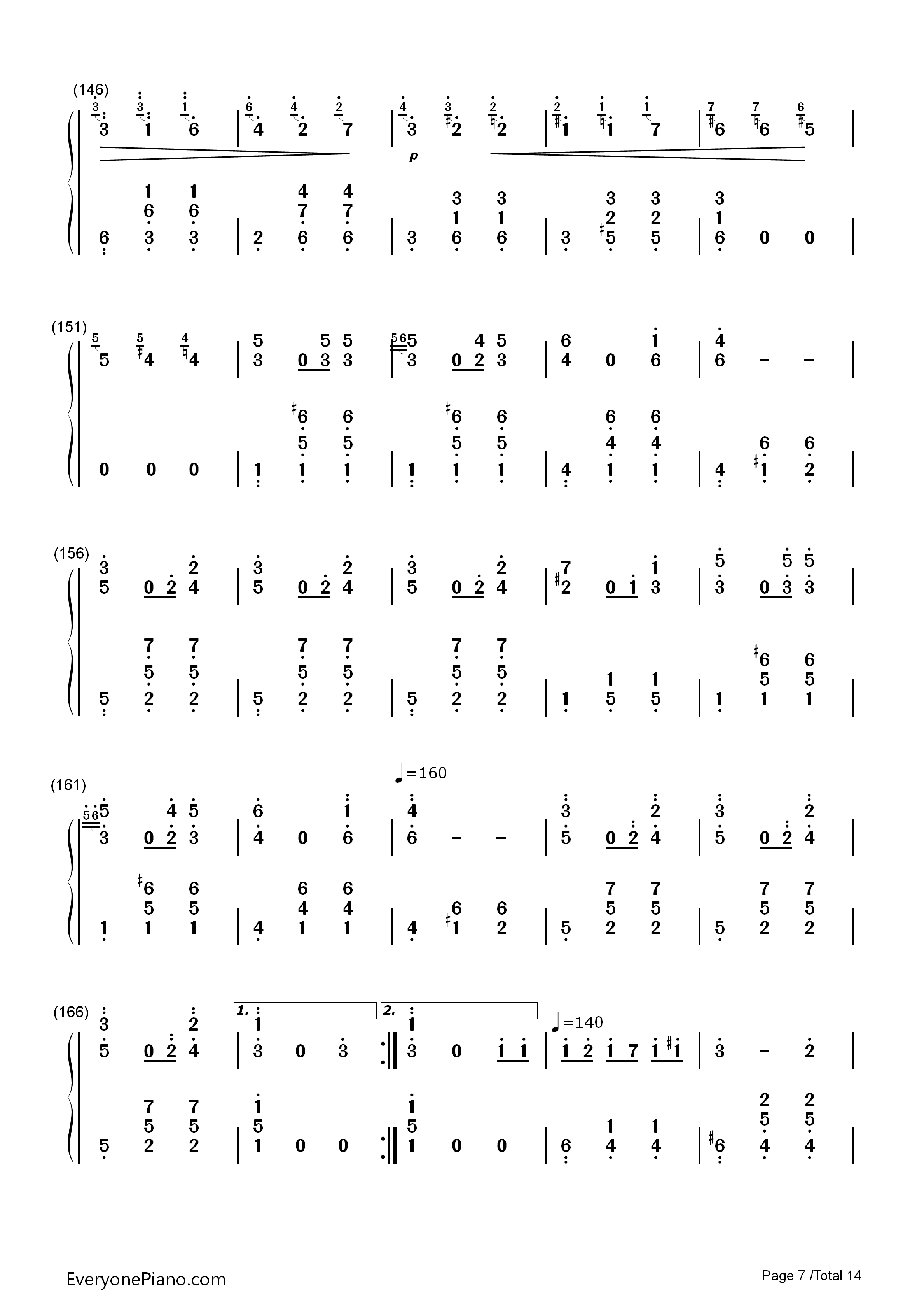 华丽大圆舞曲-肖邦双手简谱预览7-钢琴谱(五线谱,双手