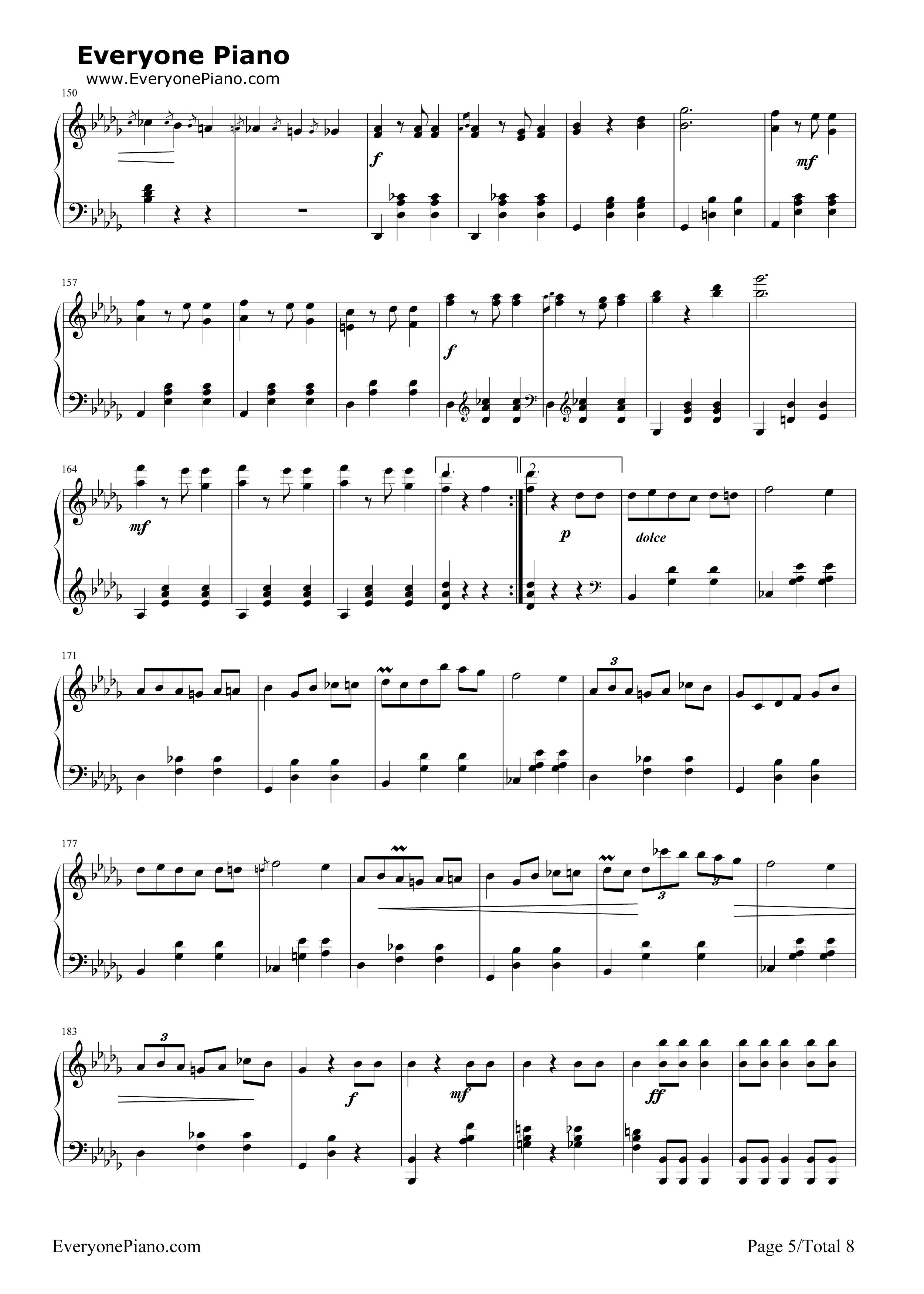 钢琴曲谱 练习曲 华丽大圆舞曲-肖邦 华丽大圆舞曲-肖邦五线谱预览5
