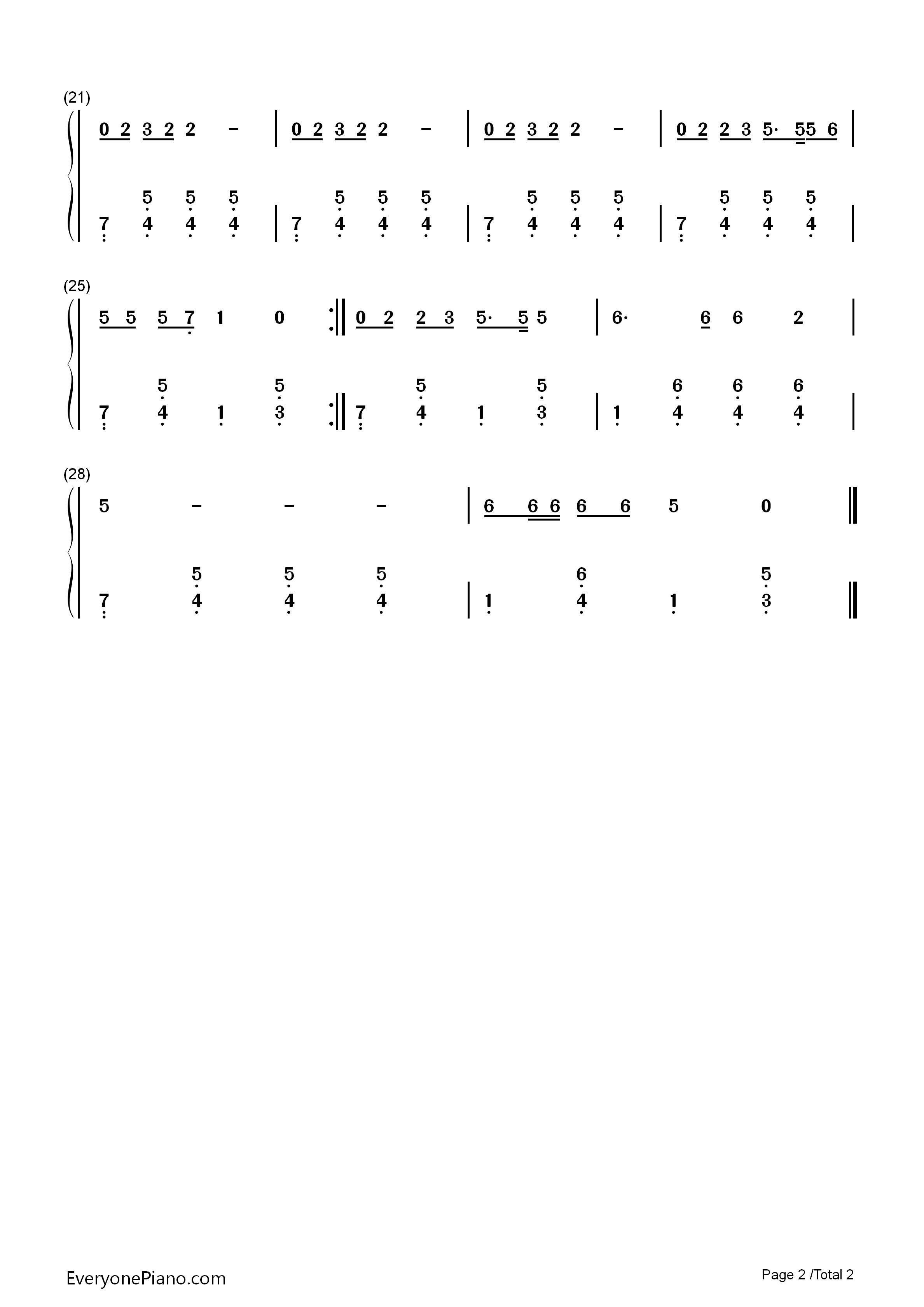 丑小鸭-儿歌双手简谱预览2-钢琴谱(五线谱,双手简谱)
