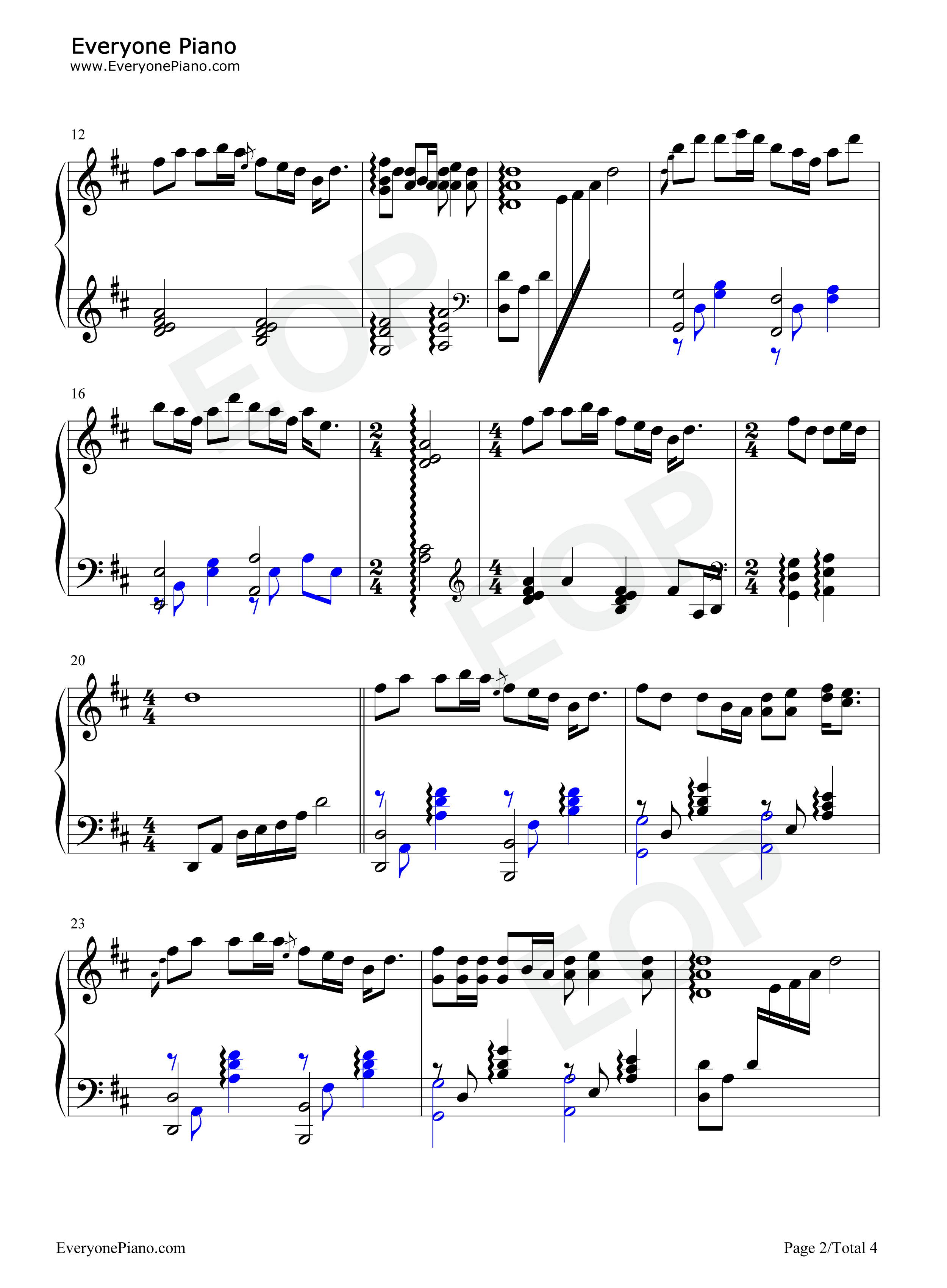 钢琴曲谱 流行 蝴蝶泉边-黄雅莉 蝴蝶泉边-黄雅莉五线谱预览2  }