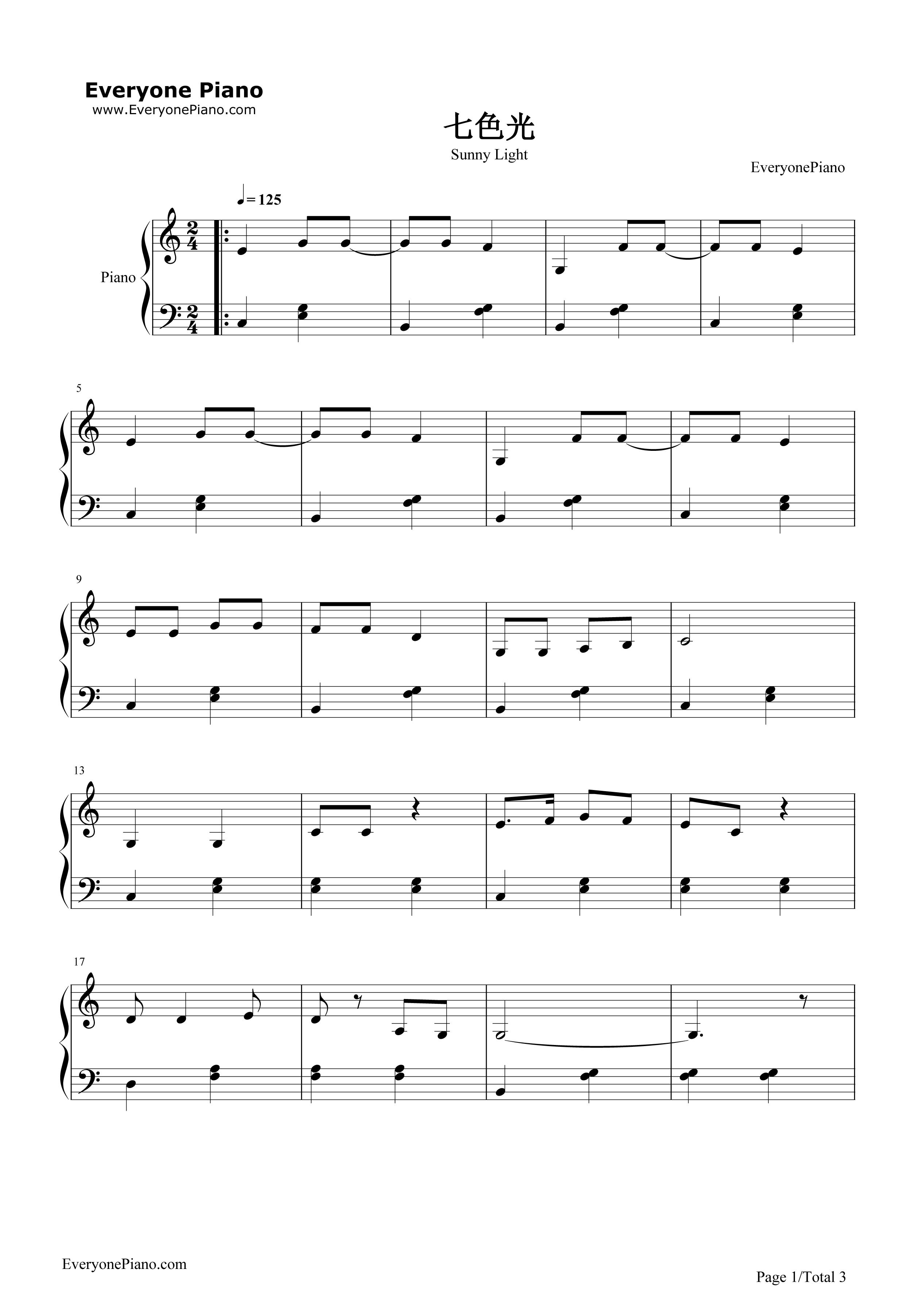 钢琴曲谱 儿歌 七色光-徐锡宜 七色光-徐锡宜五线谱预览1