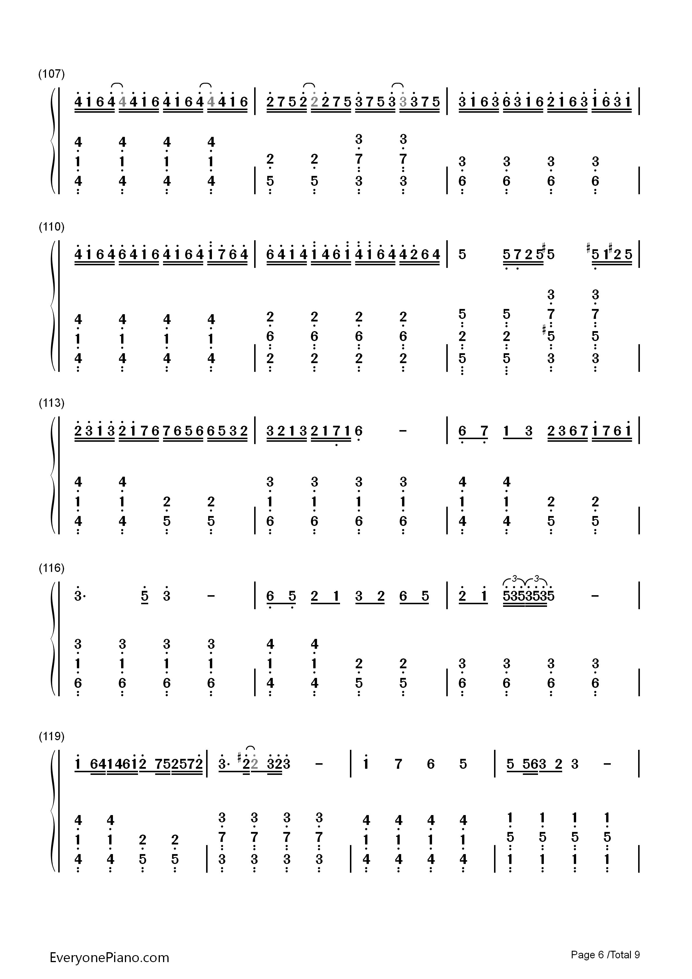 千本樱简单版-初音未来双手简谱预览6