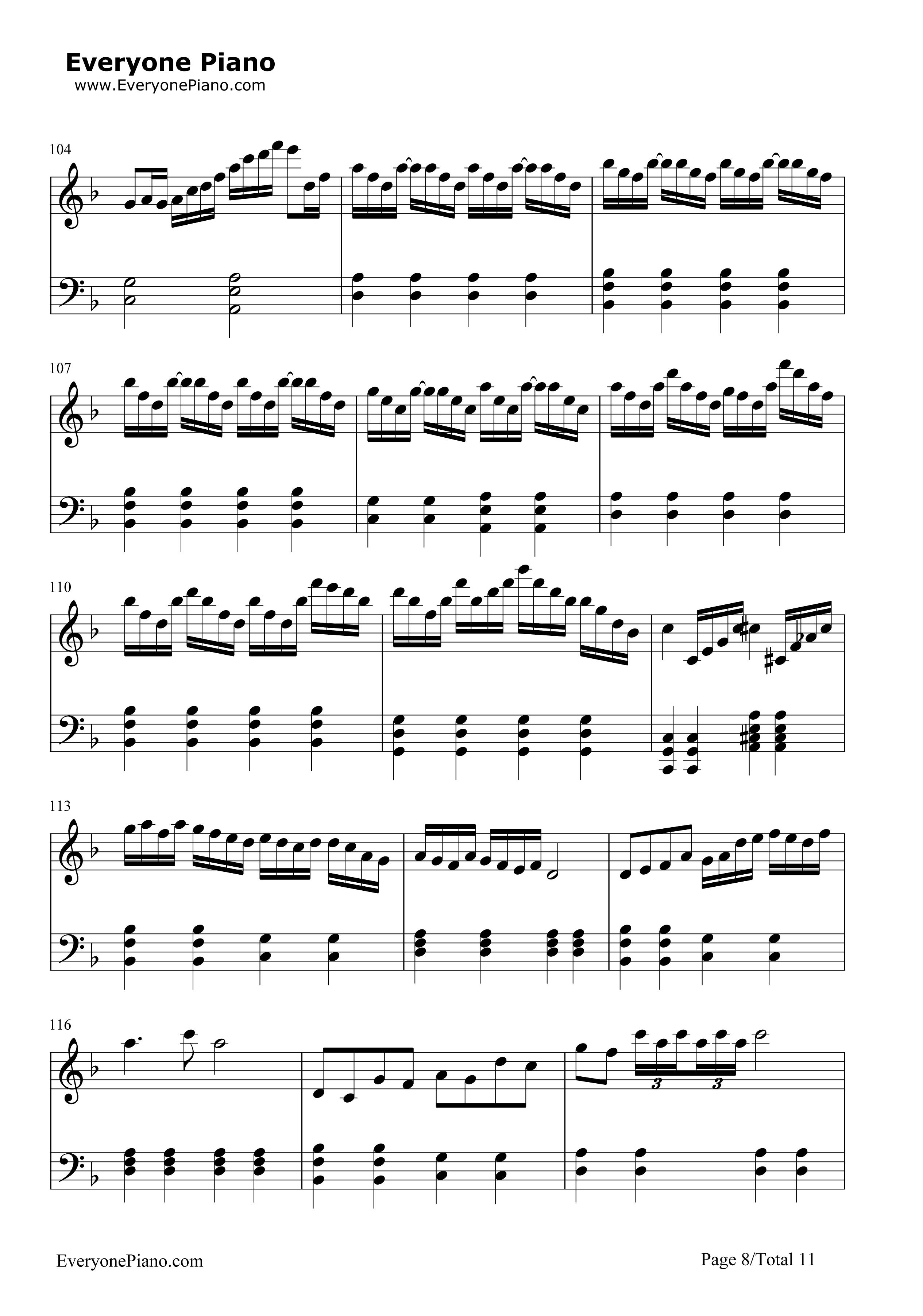 千本樱简单版-初音未来五线谱预览8