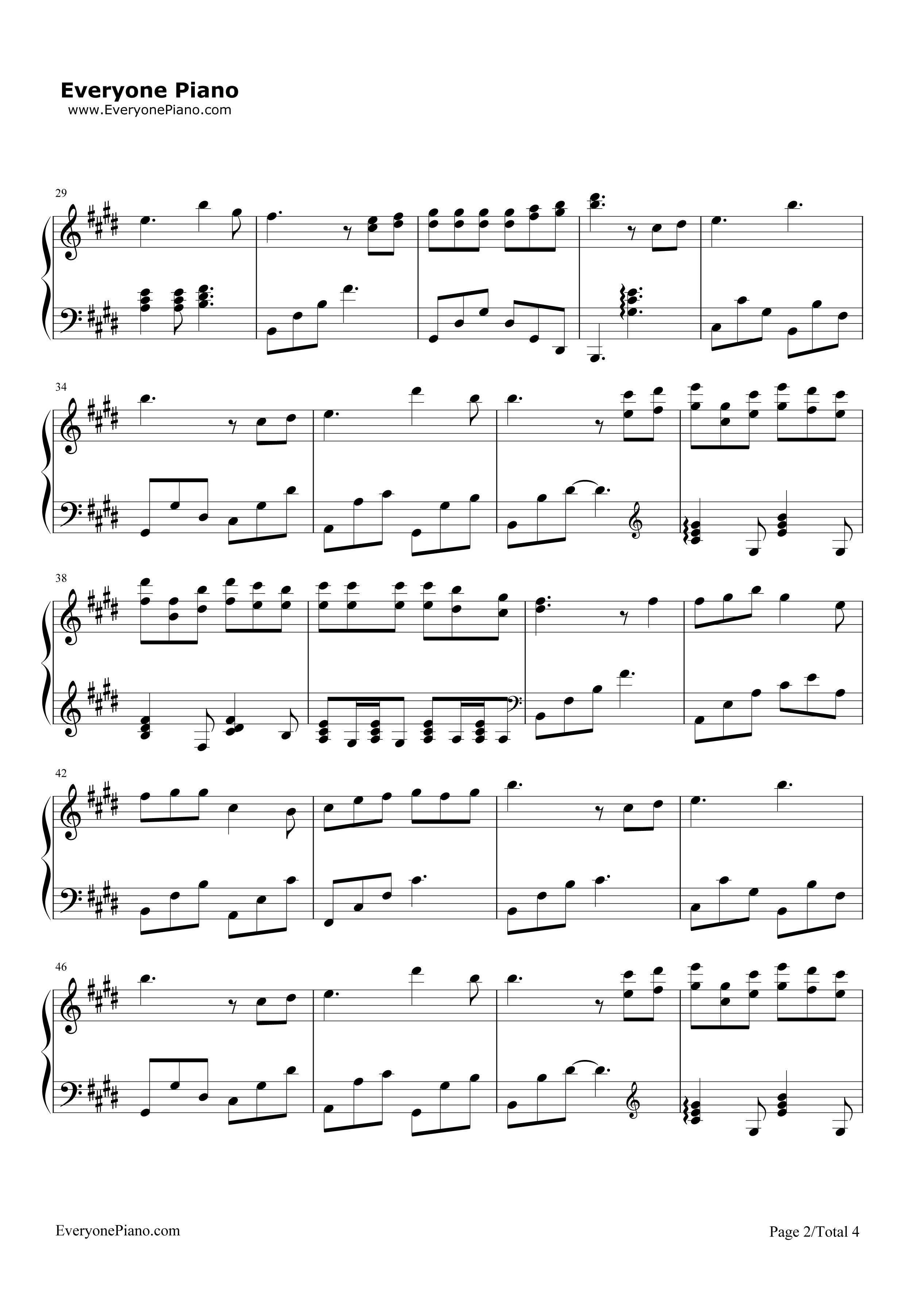 钢琴曲谱 流行 不可说-花千骨主题歌 不可说-花千骨主题歌五线谱预览2