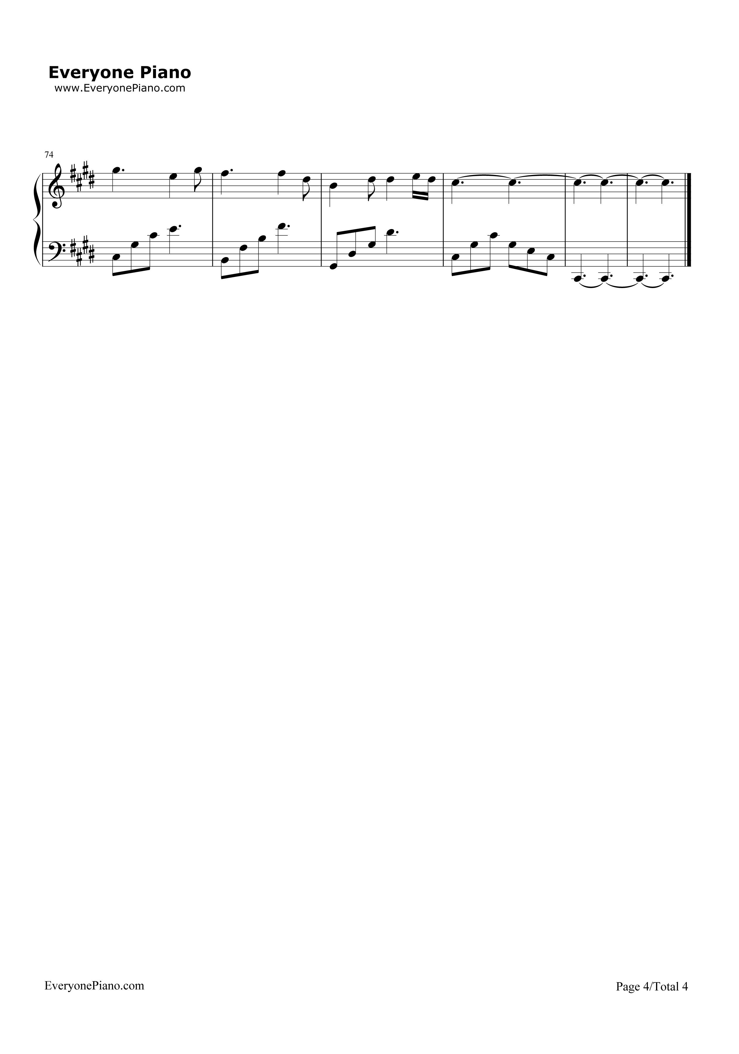 钢琴曲谱 流行 不可说-花千骨主题歌 不可说-花千骨主题歌五线谱预览4