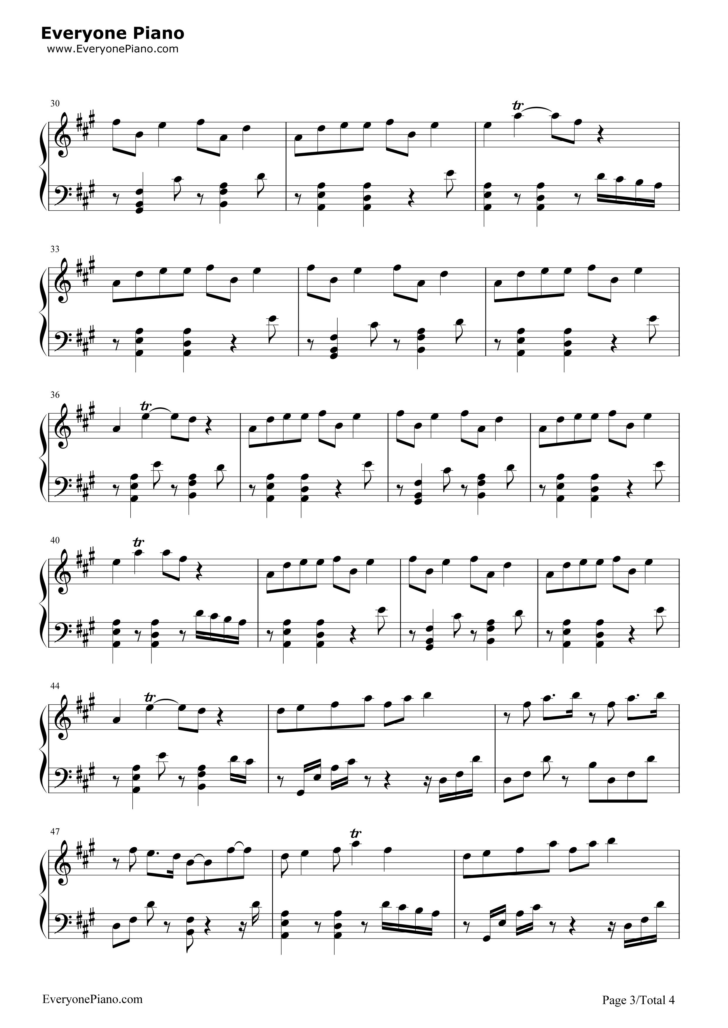 年轮-花千骨插曲五线谱预览3-钢琴谱(五线谱,双手简谱