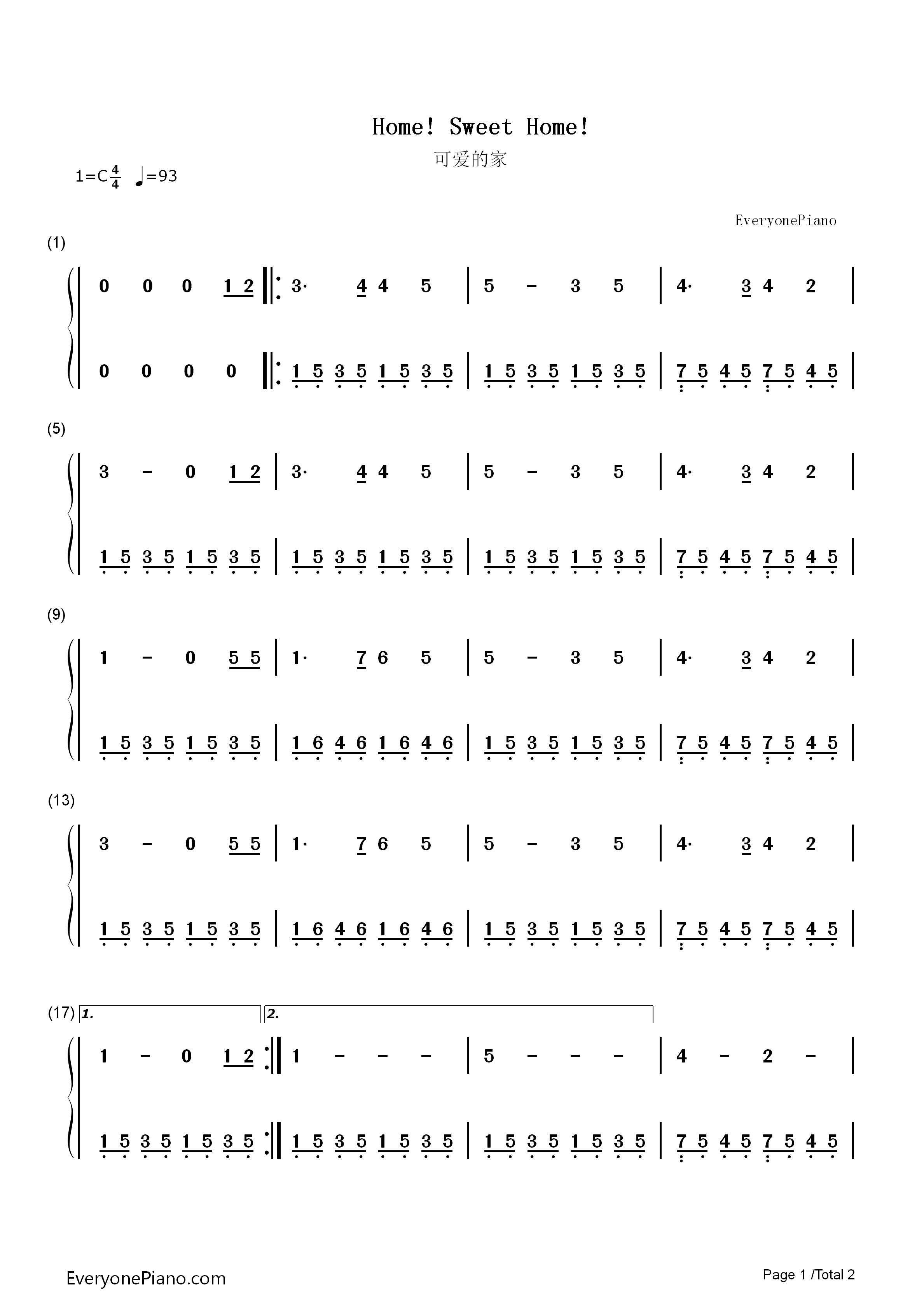 可爱的家-苏格兰民歌双手简谱预览1-钢琴谱档(五线谱