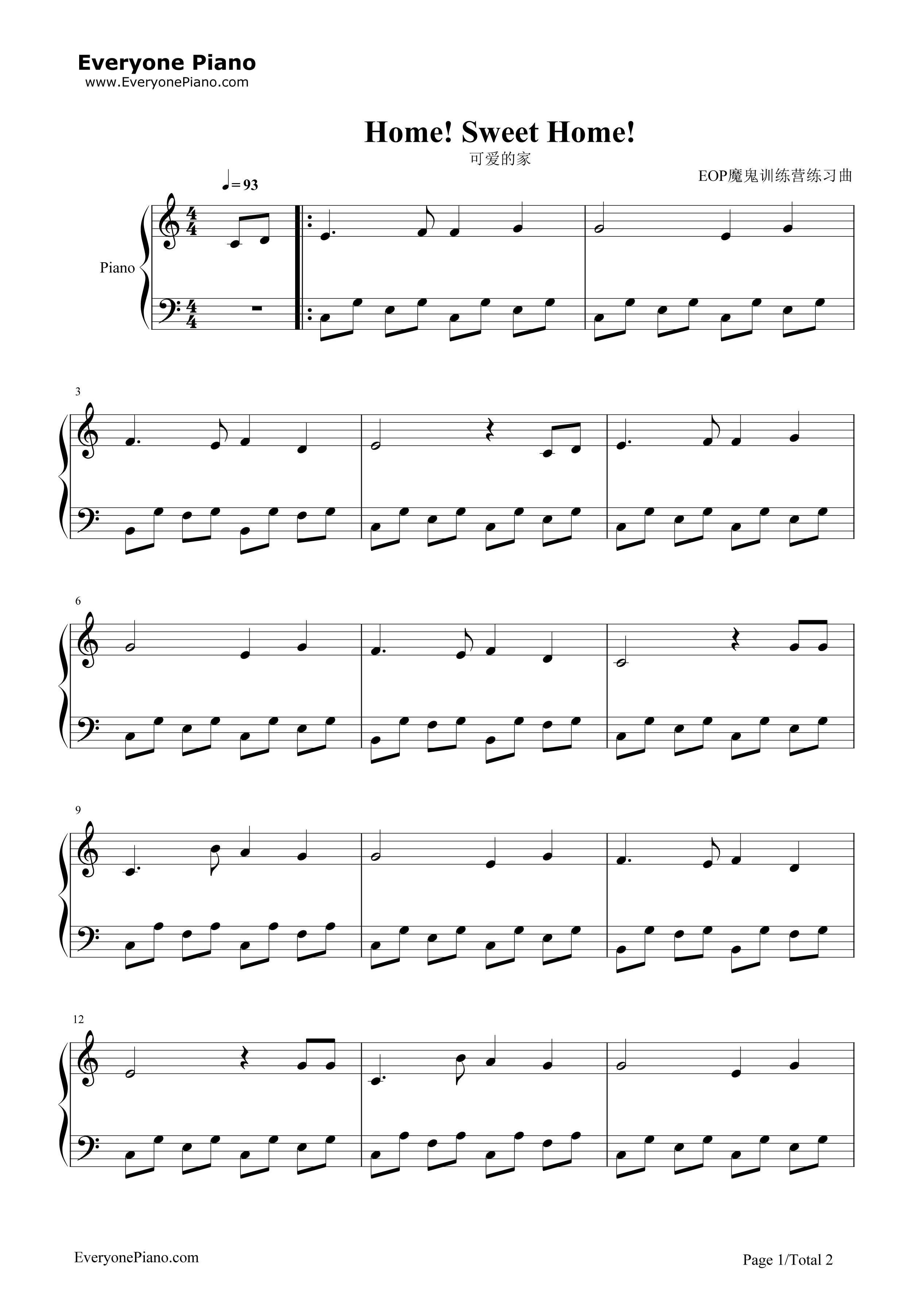 钢琴曲谱 民乐 可爱的家-苏格兰民歌 可爱的家-苏格兰民歌五线谱预览1