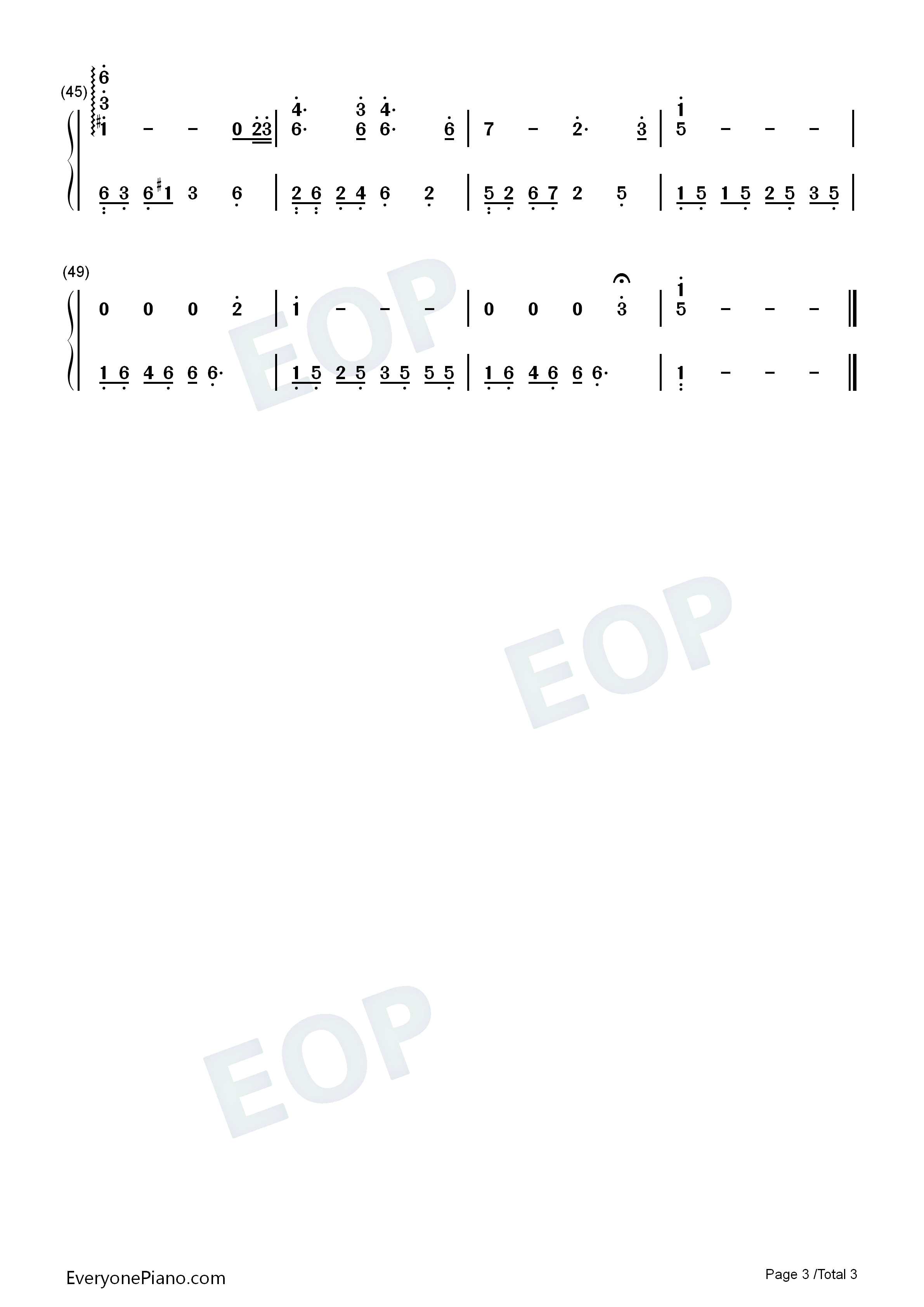 一个人的时光-夜的钢琴曲双手简谱预览3