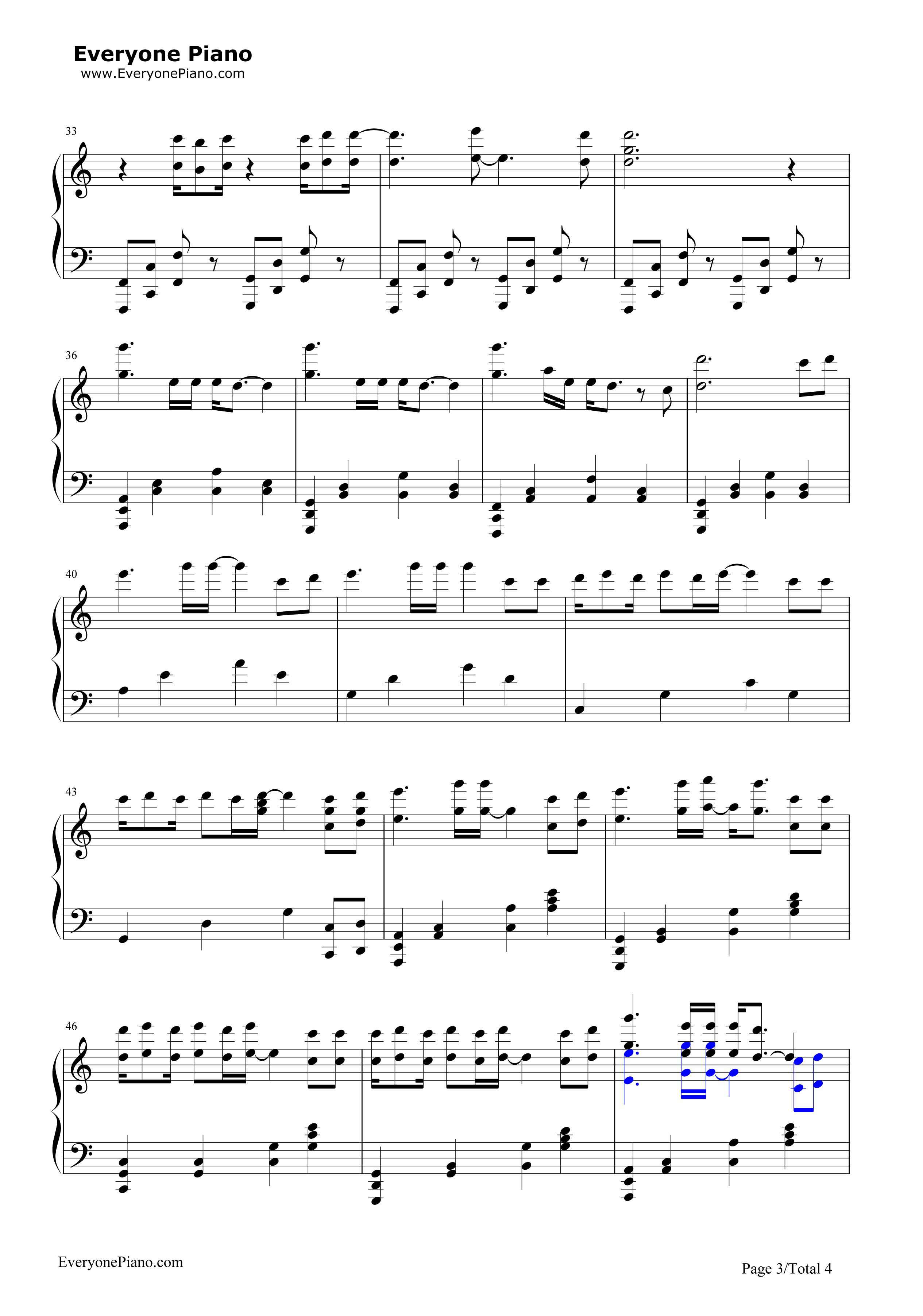 钢琴曲谱 流行 心之火-花千骨片头曲 心之火-花千骨片头曲五线谱预览