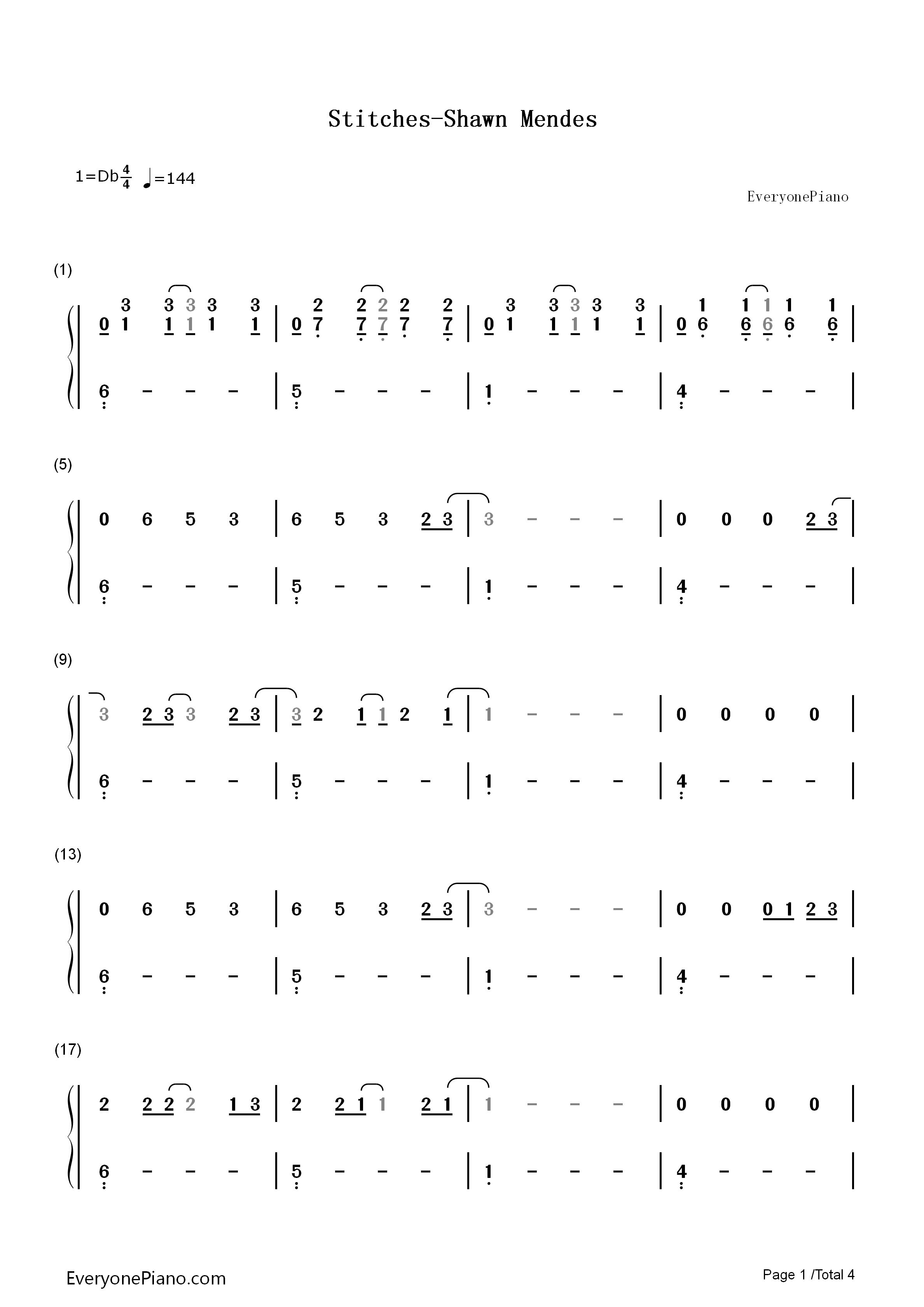 mendes双手简谱预览1-钢琴谱