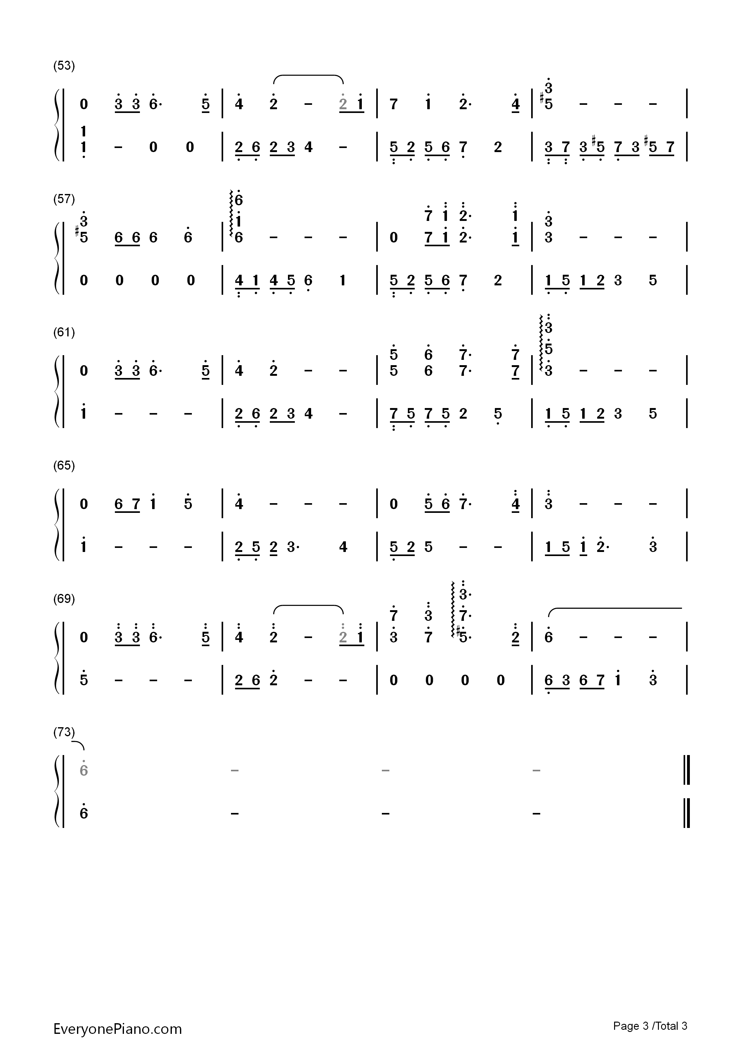 贝加尔湖畔-李健双手简谱预览3-钢琴谱(五线谱,双手)