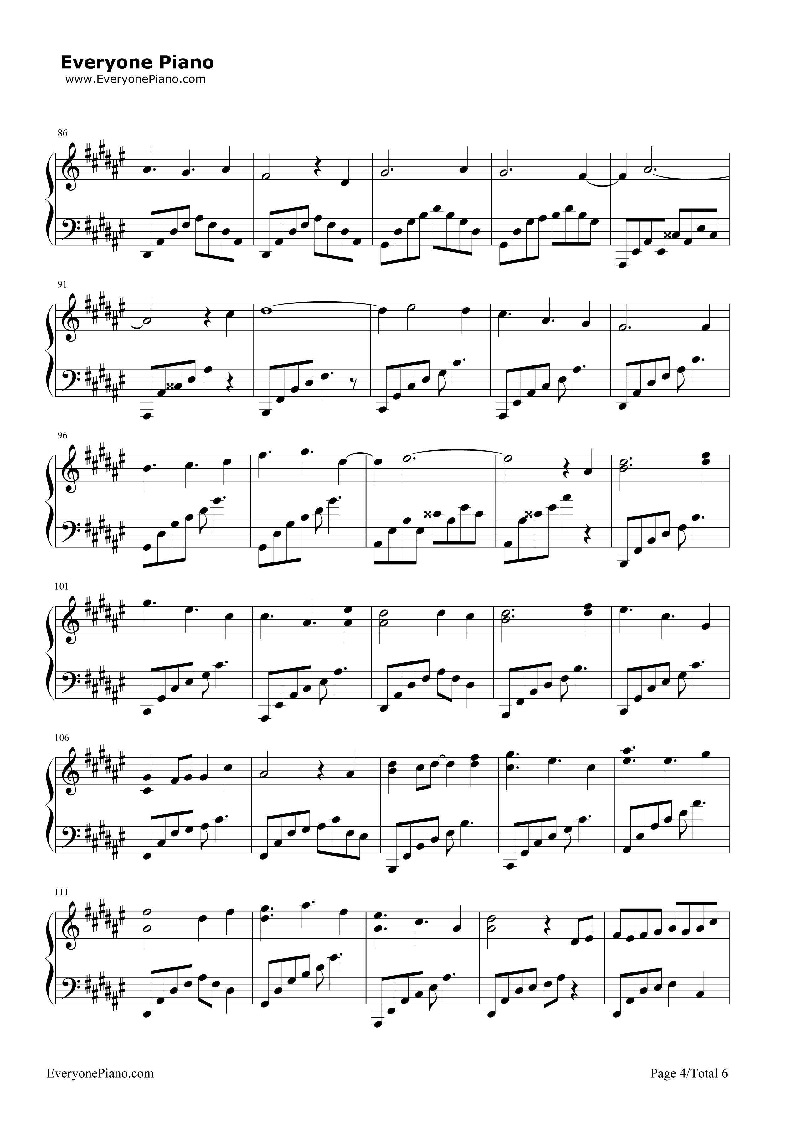 钢琴曲谱 流行 上邪-小曲儿 上邪-小曲儿五线谱预览4