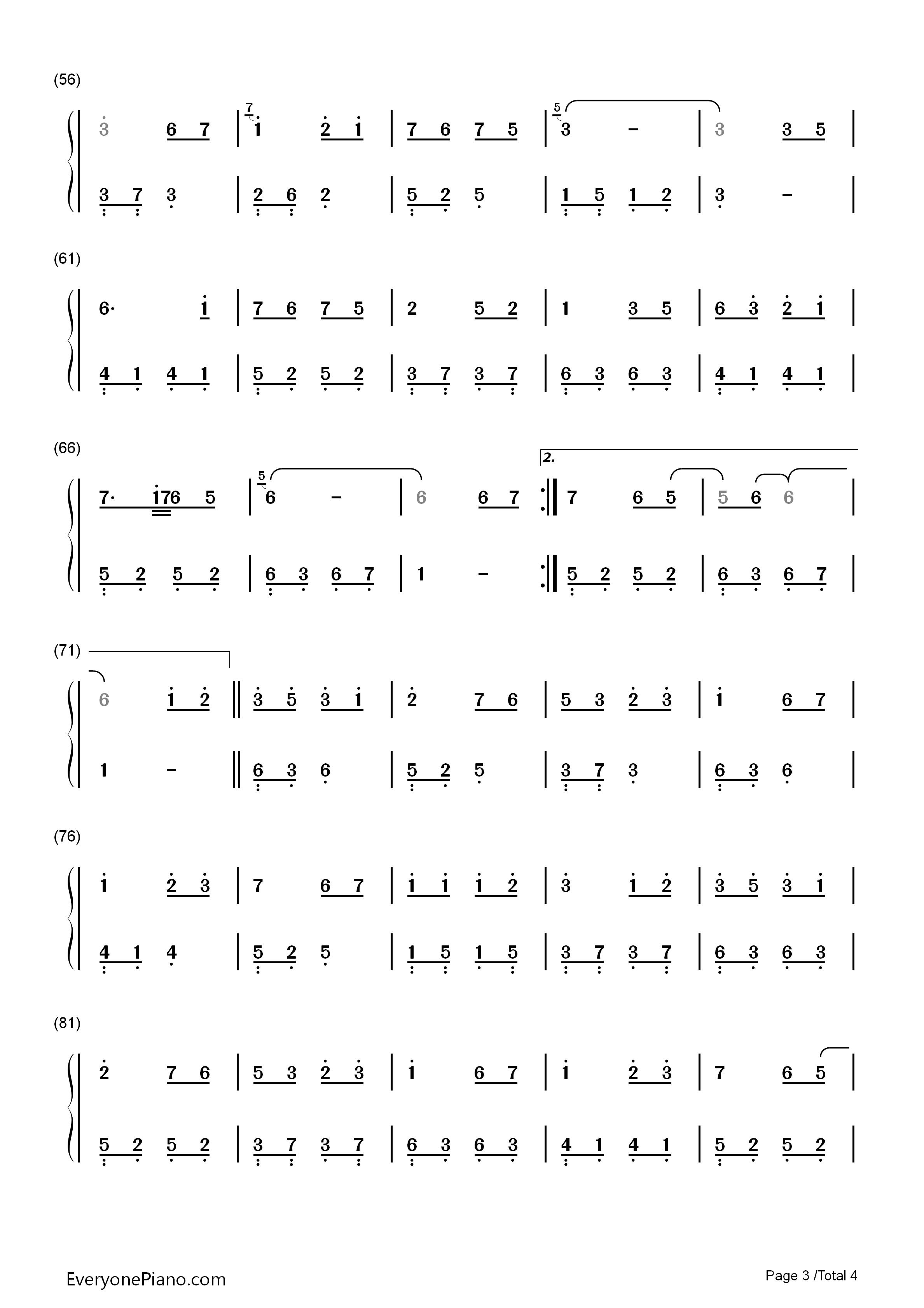 钢琴曲谱 流行 恋人心-花千骨插曲-eop魔鬼训练营练习曲 恋人心