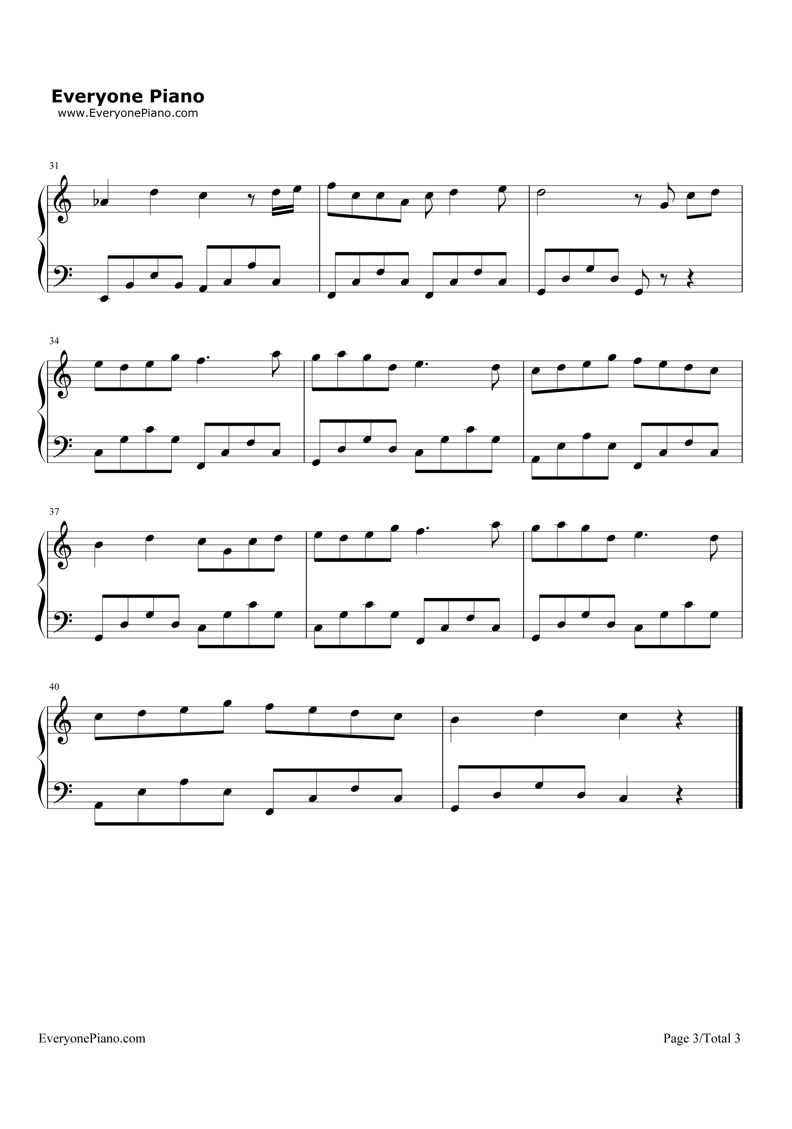 魔法城堡-tfboys五线谱预览3-钢琴谱(五线谱,双手简谱