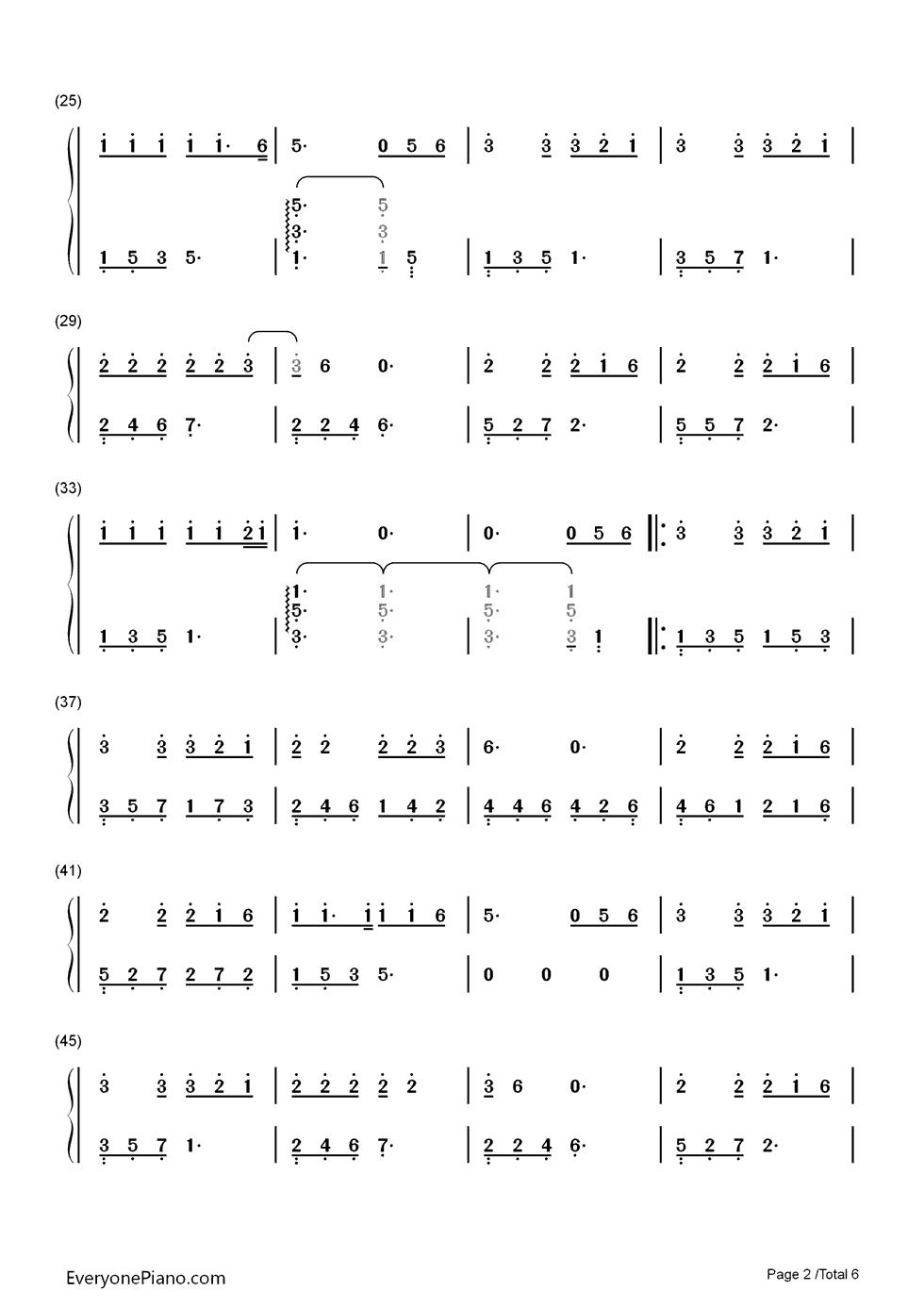 另一个自己-栀子花开推广曲双手简谱预览2-钢琴谱(,)