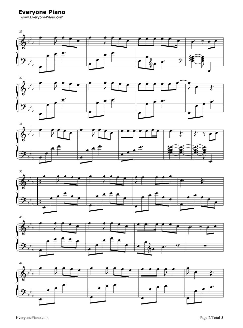 另一个自己-栀子花开推广曲五线谱预览2-钢琴谱(,双手