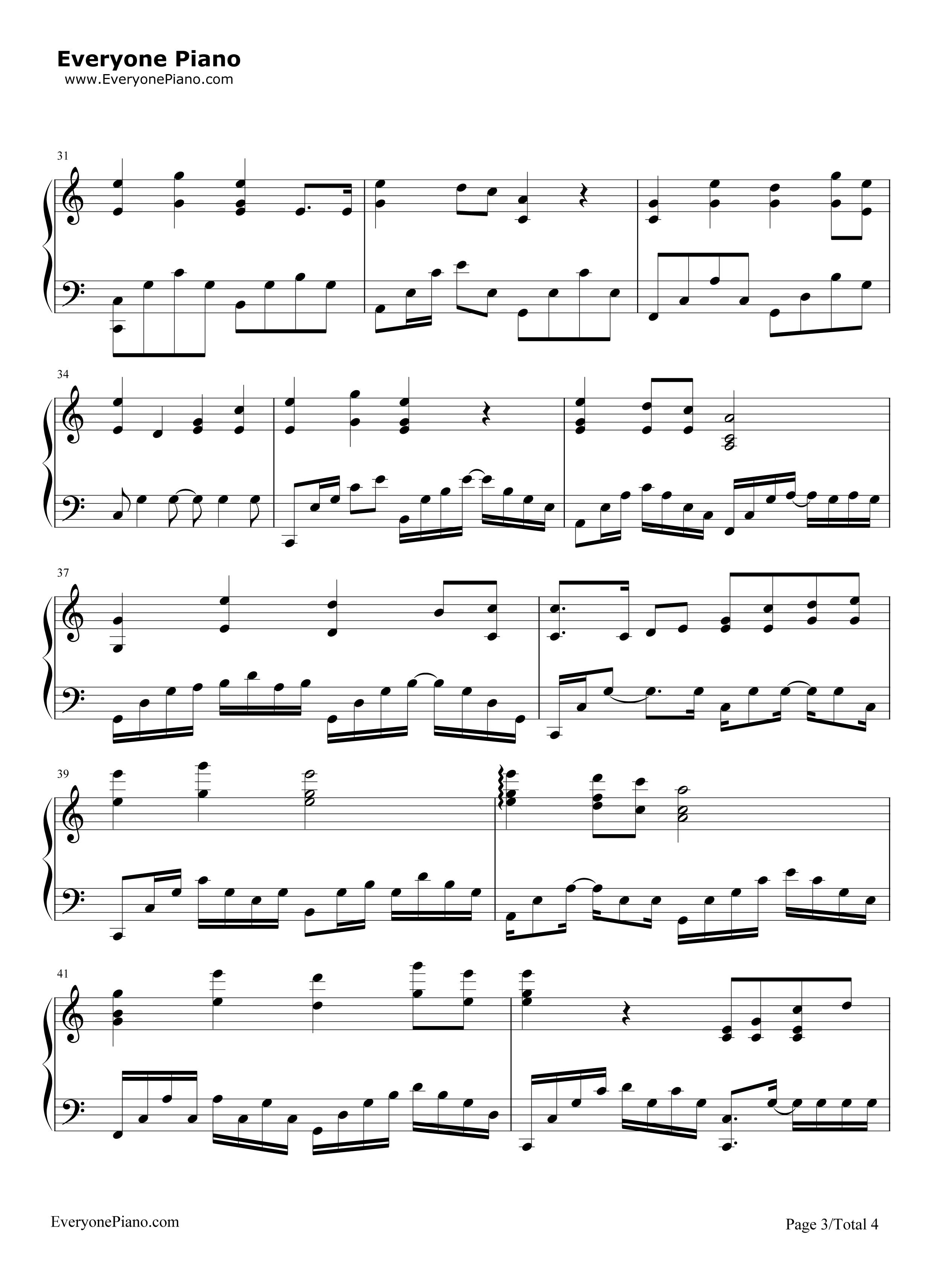 南山南-中国好声音第四季五线谱预览3-钢琴谱(五线谱