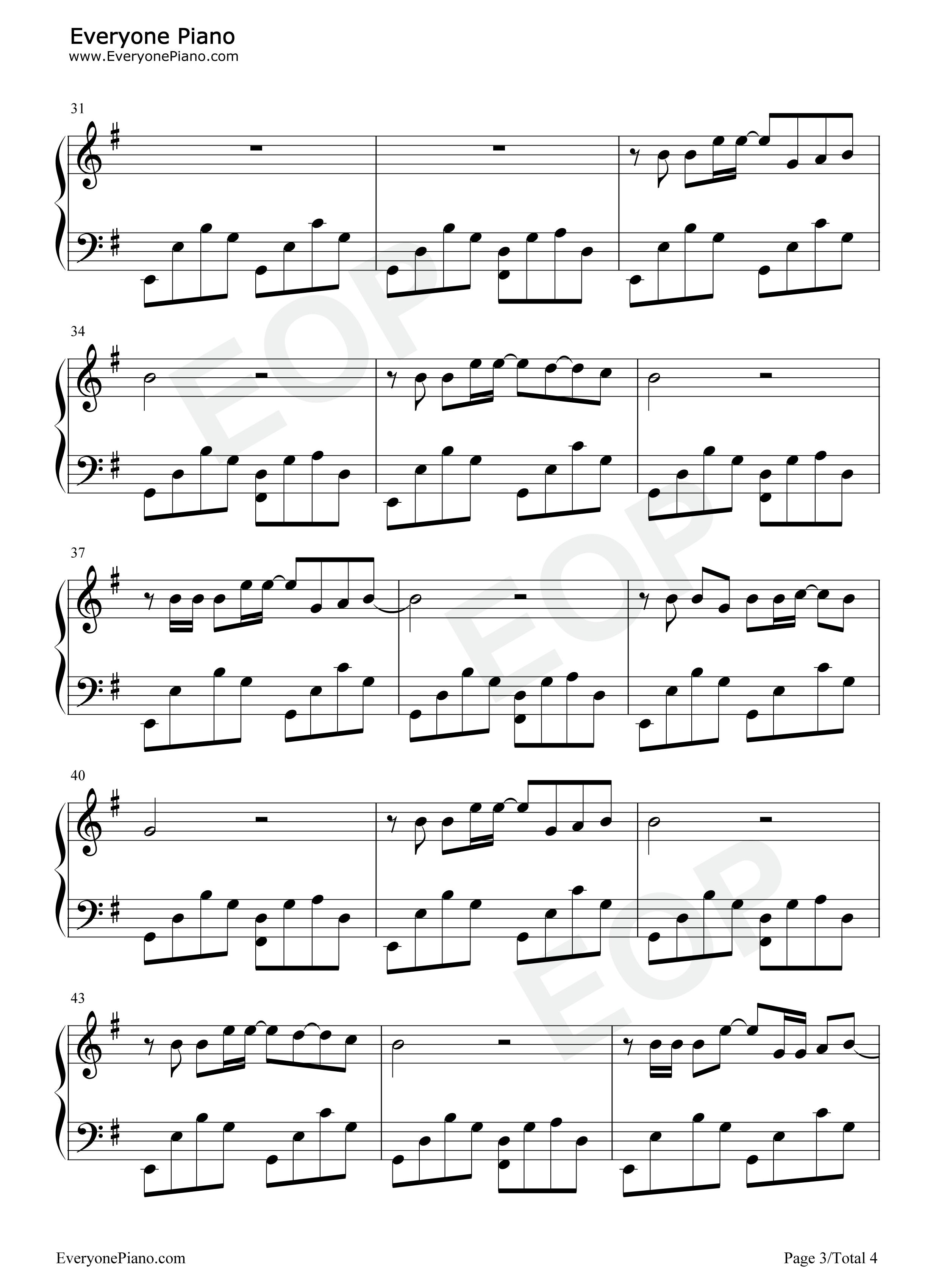 平凡之路-后会无期主题曲五线谱预览3-钢琴谱档(,双手图片