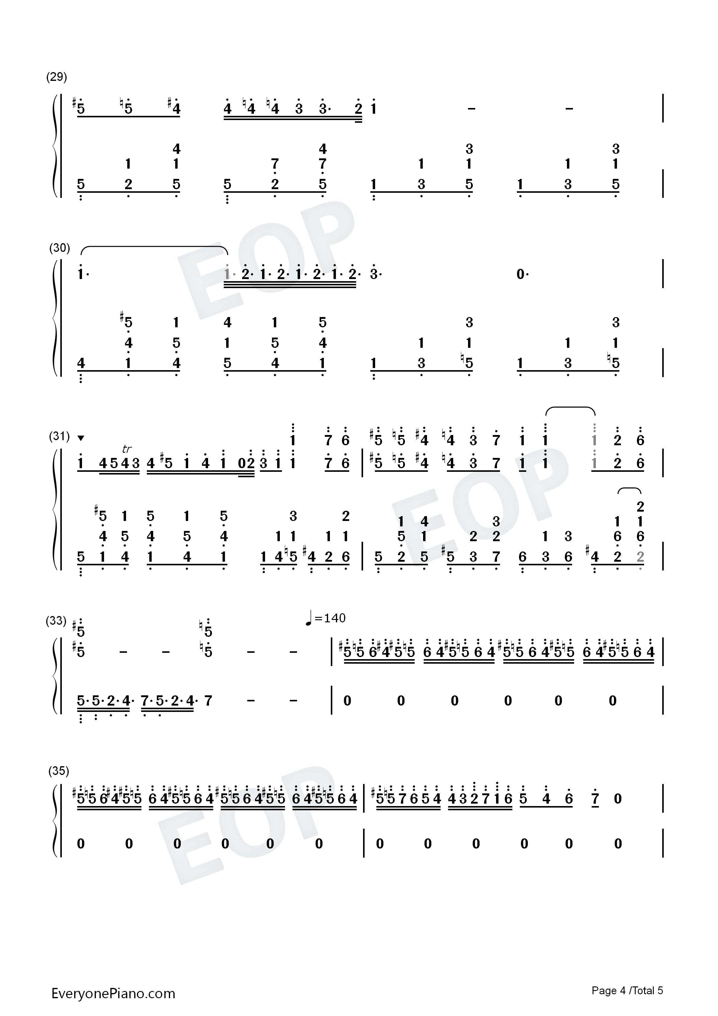肖邦夜曲第二首双手简谱预览4