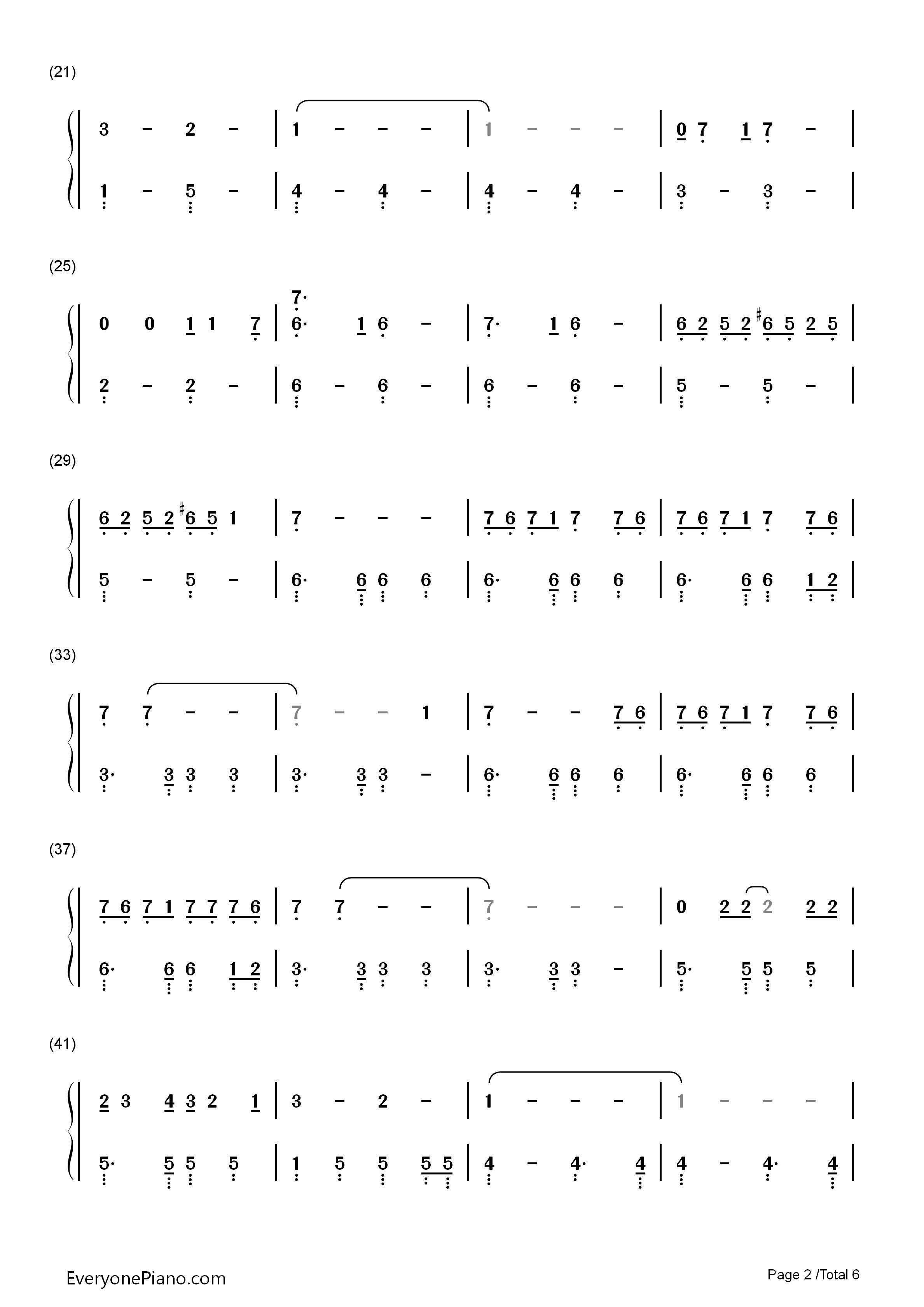 Hey You Pink Floyd双手简谱预览2 钢琴谱档 五线谱 双手简谱 数位谱