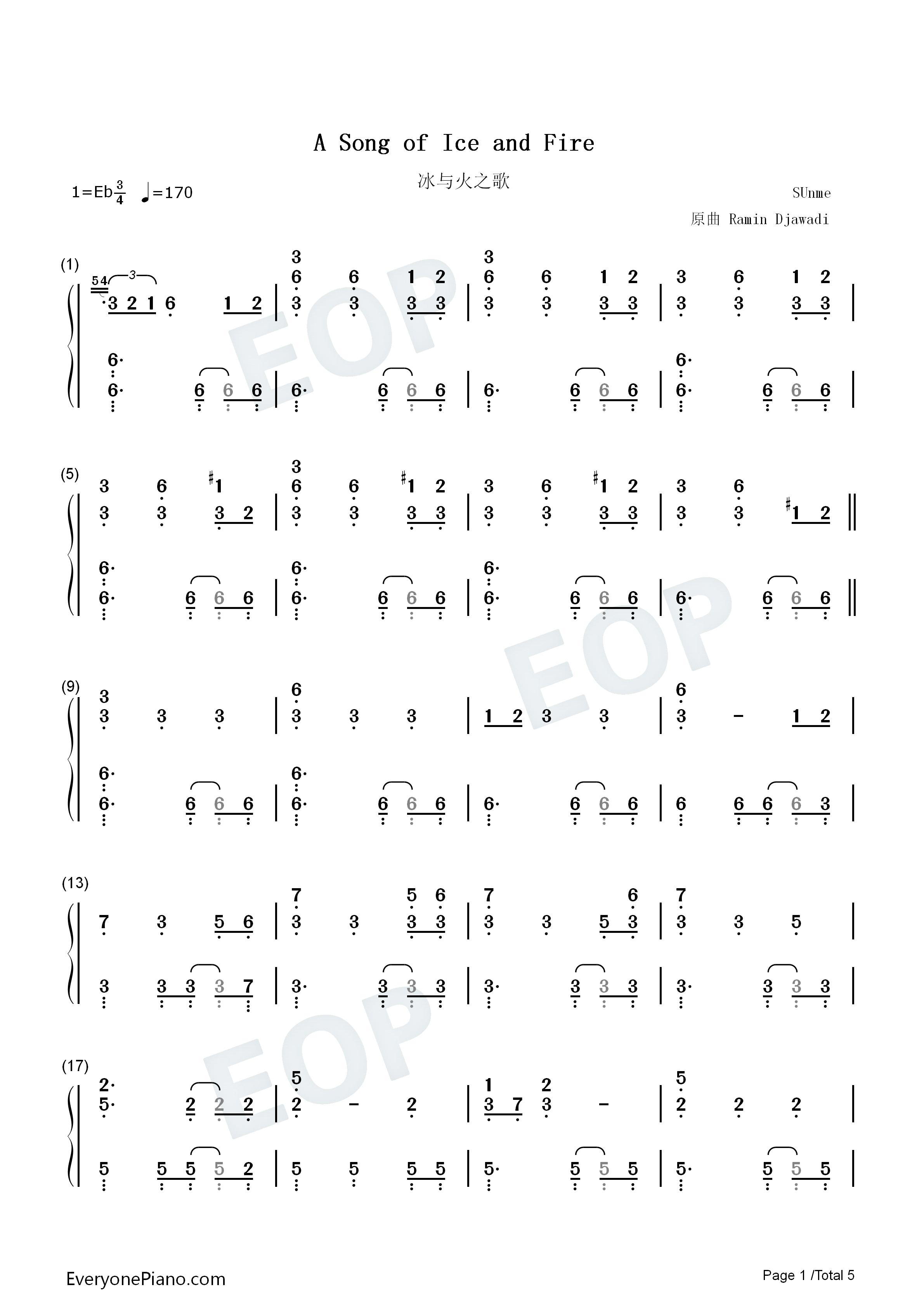 权力的游戏钢琴简谱