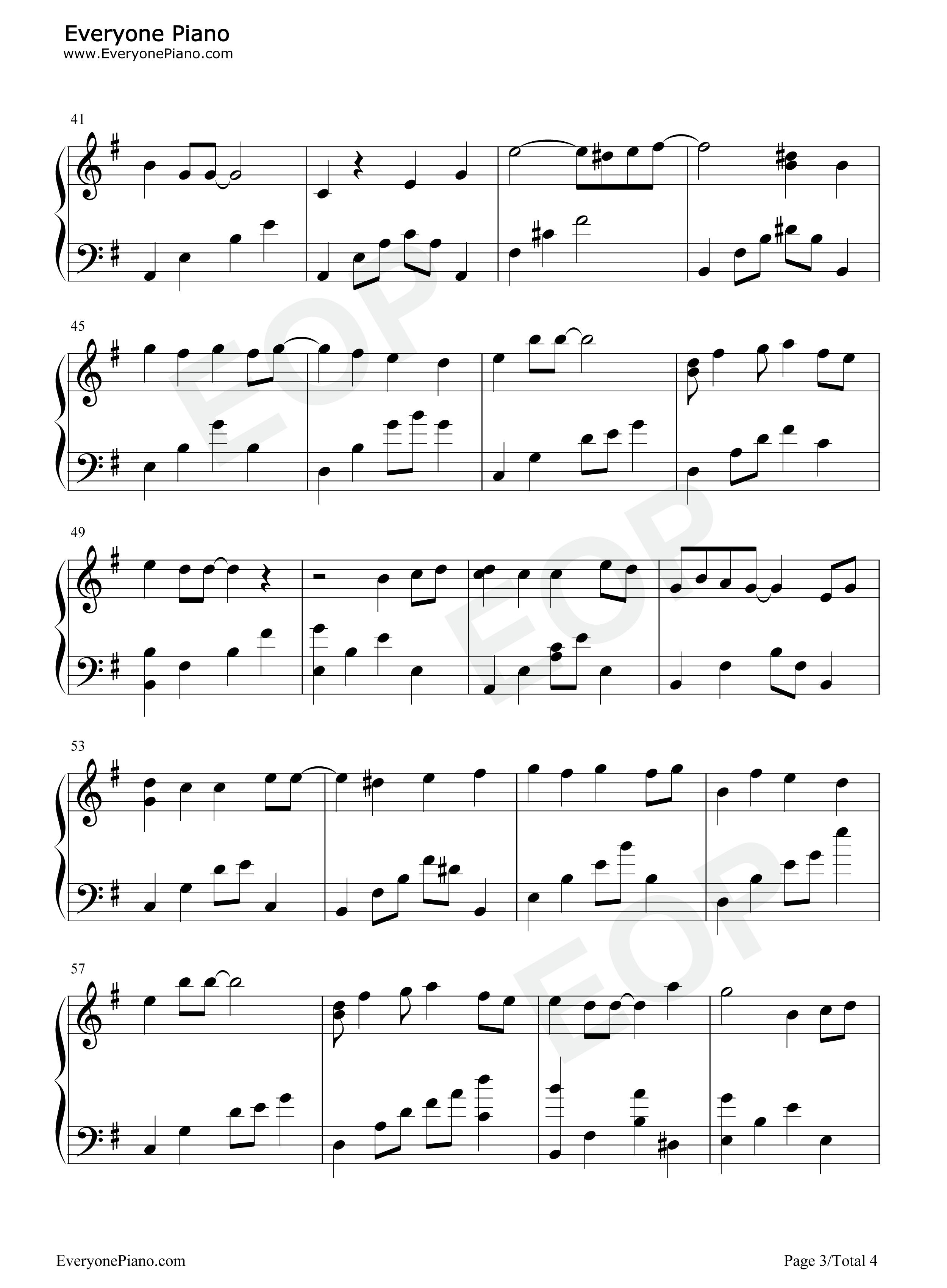 雪之华-对不起我爱你主题曲五线谱预览3-钢琴谱(,双手