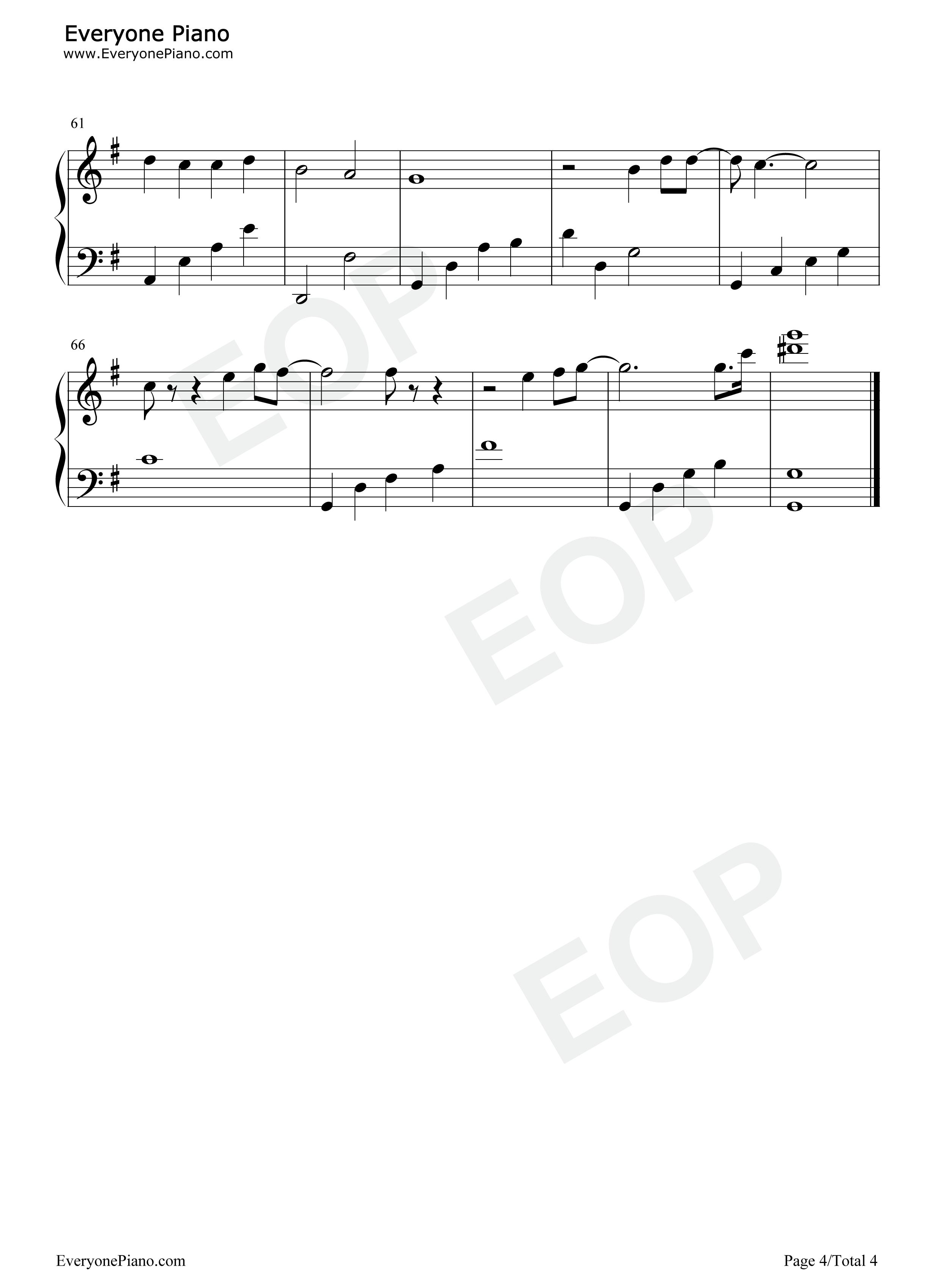 雪之华-对不起我爱你主题曲五线谱预览4