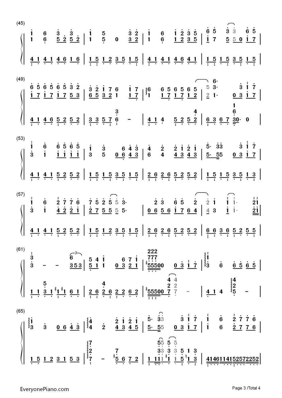 钢琴曲谱 流行 千古-花千骨片头曲 千古-花千骨片头曲双手简谱预览3