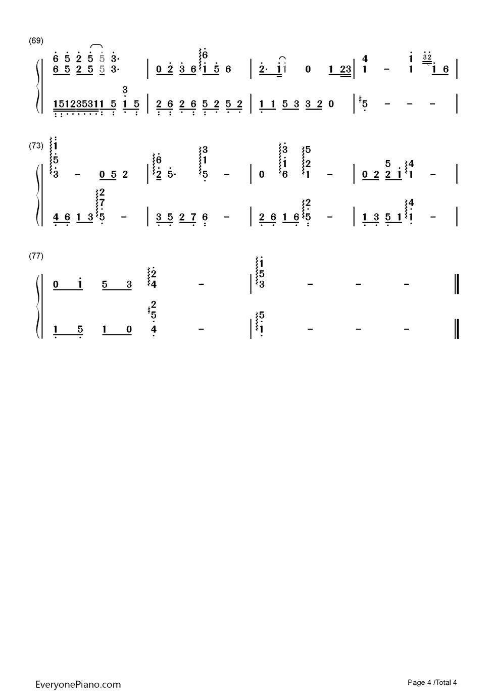 钢琴曲谱 流行 千古-花千骨片头曲 千古-花千骨片头曲双手简谱预览4