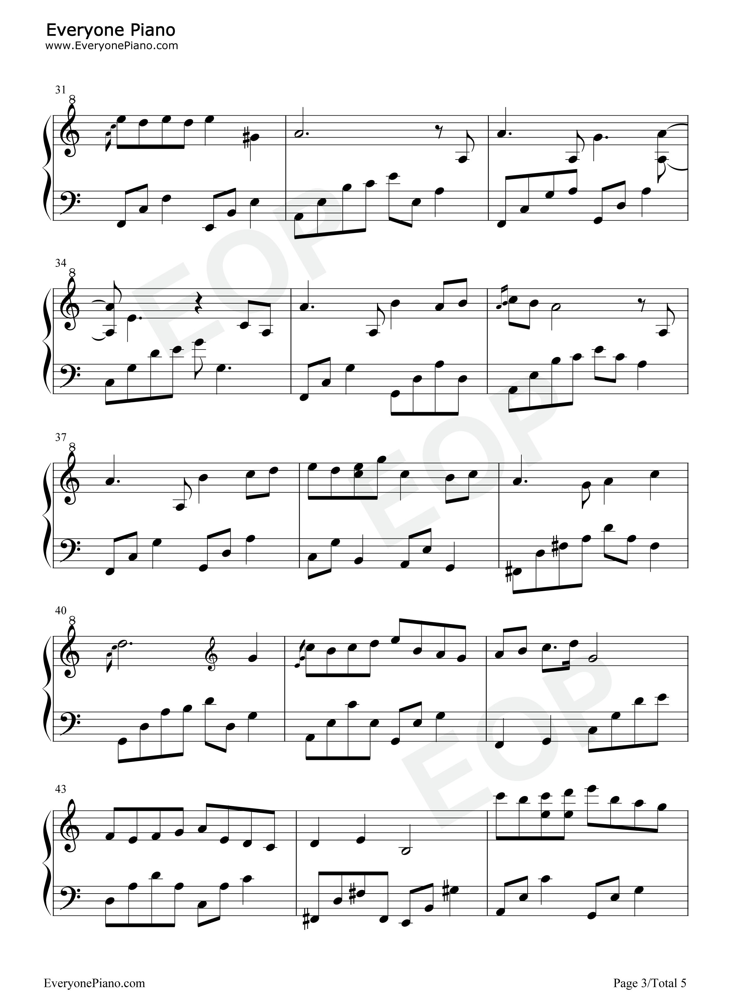 夜的钢琴曲 9-石进五线谱预览3