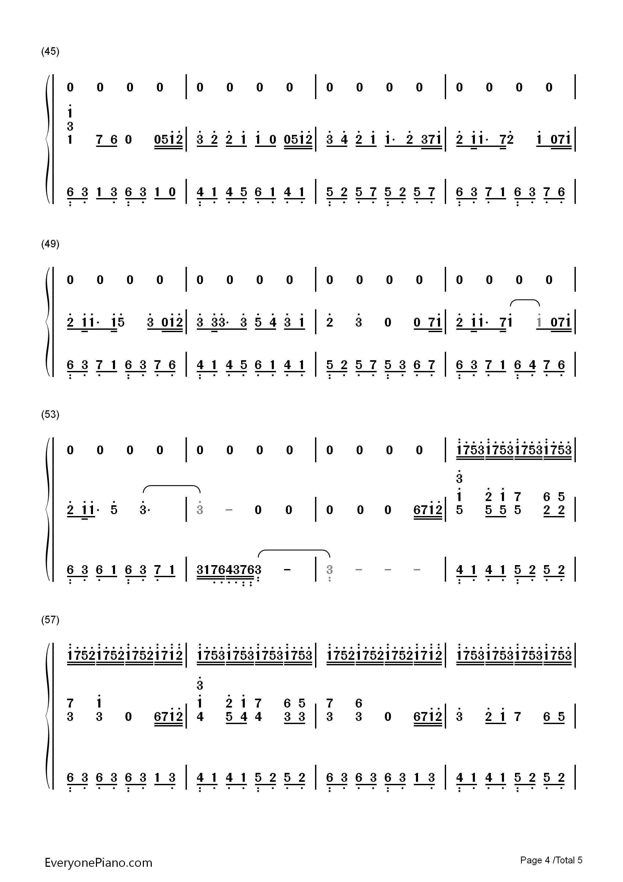 不朽-盗墓笔记61张起灵双手简谱预览4-钢琴谱