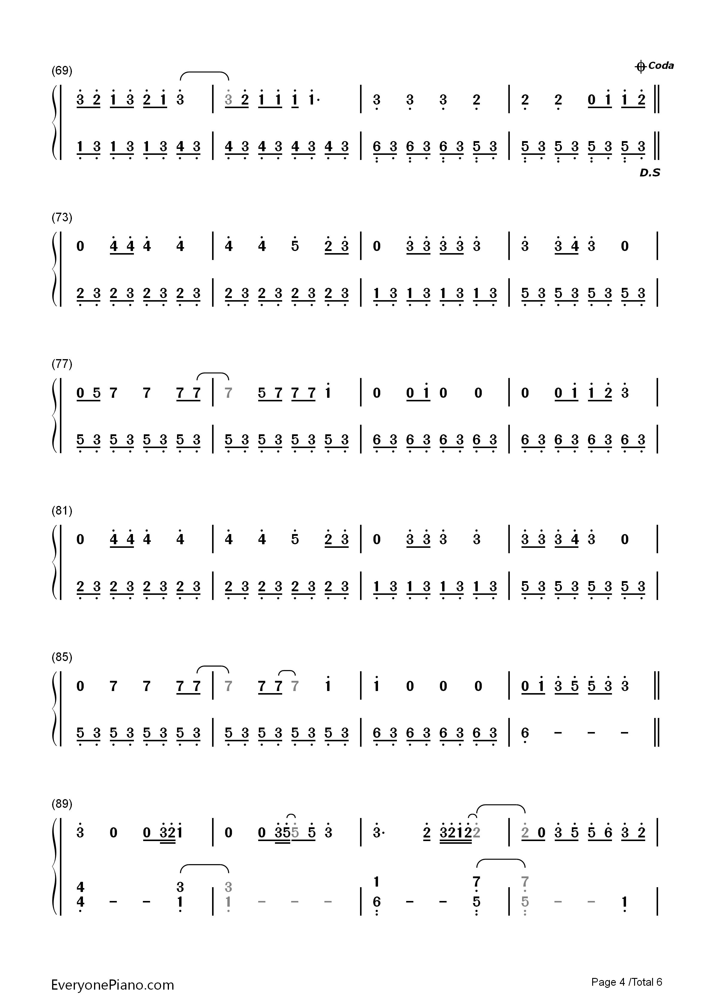 s Bay双手简谱预览4 钢琴谱档 五线谱 双手简谱 数位谱 Midi PDF 免