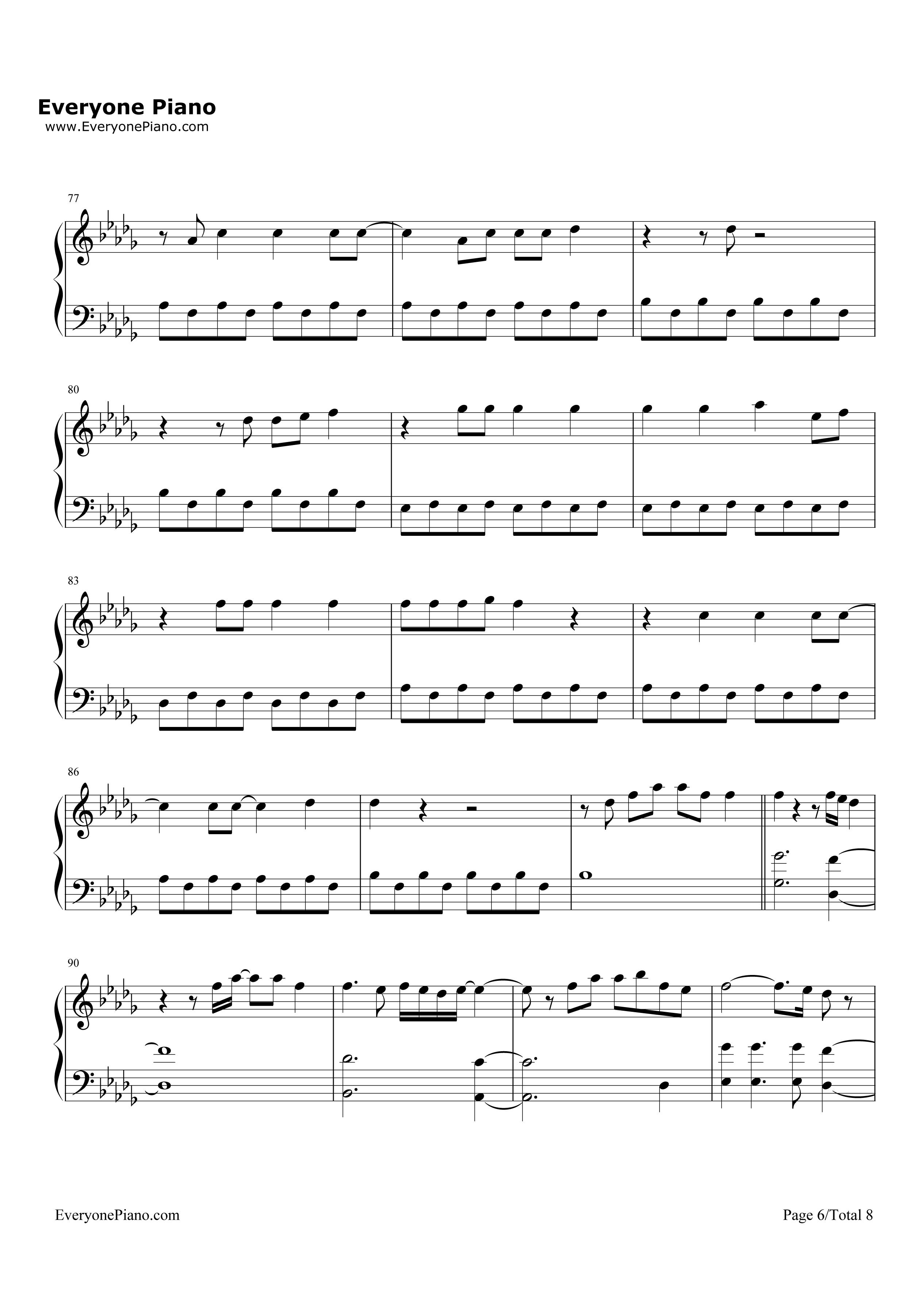青春 练手钢琴曲谱-五线谱预览6 钢琴谱档 五线谱 双手简谱 数位谱 Midi PDF 免费下载