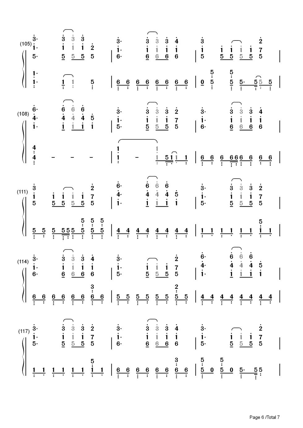bang双手简谱预览6-钢琴谱