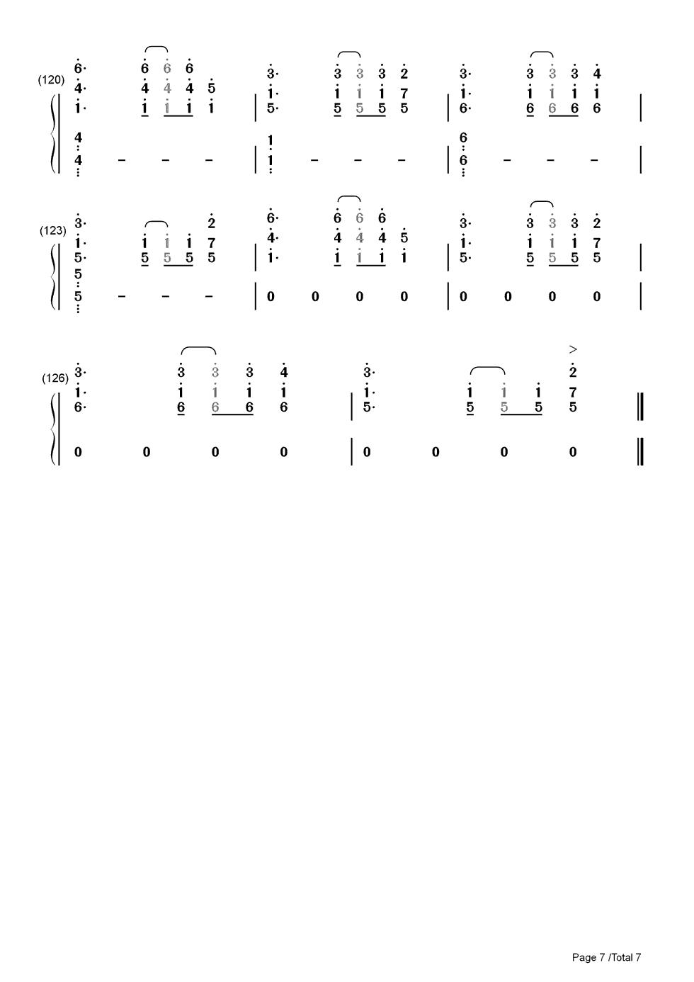 bang双手简谱预览7-钢琴谱