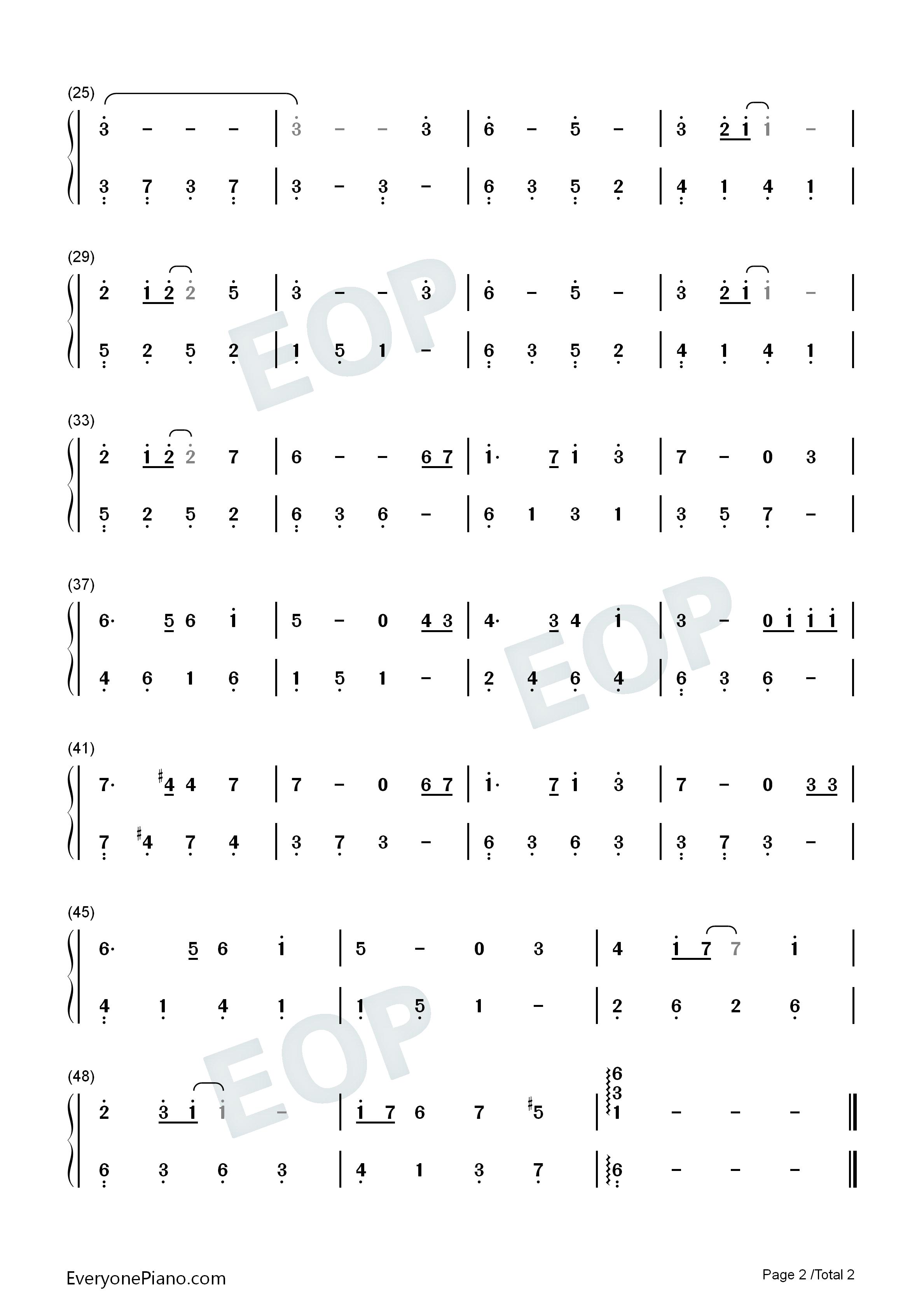 钢琴曲谱 动漫 天空之城-简单版 天空之城-简单版双手简谱预览2  }