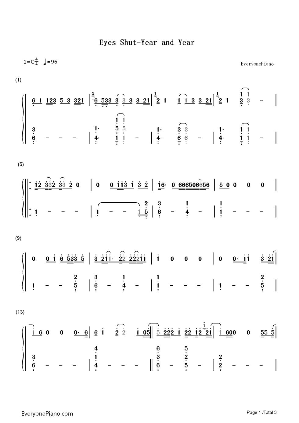 eyes shut-years and years双手简谱预览1-钢琴谱(,)