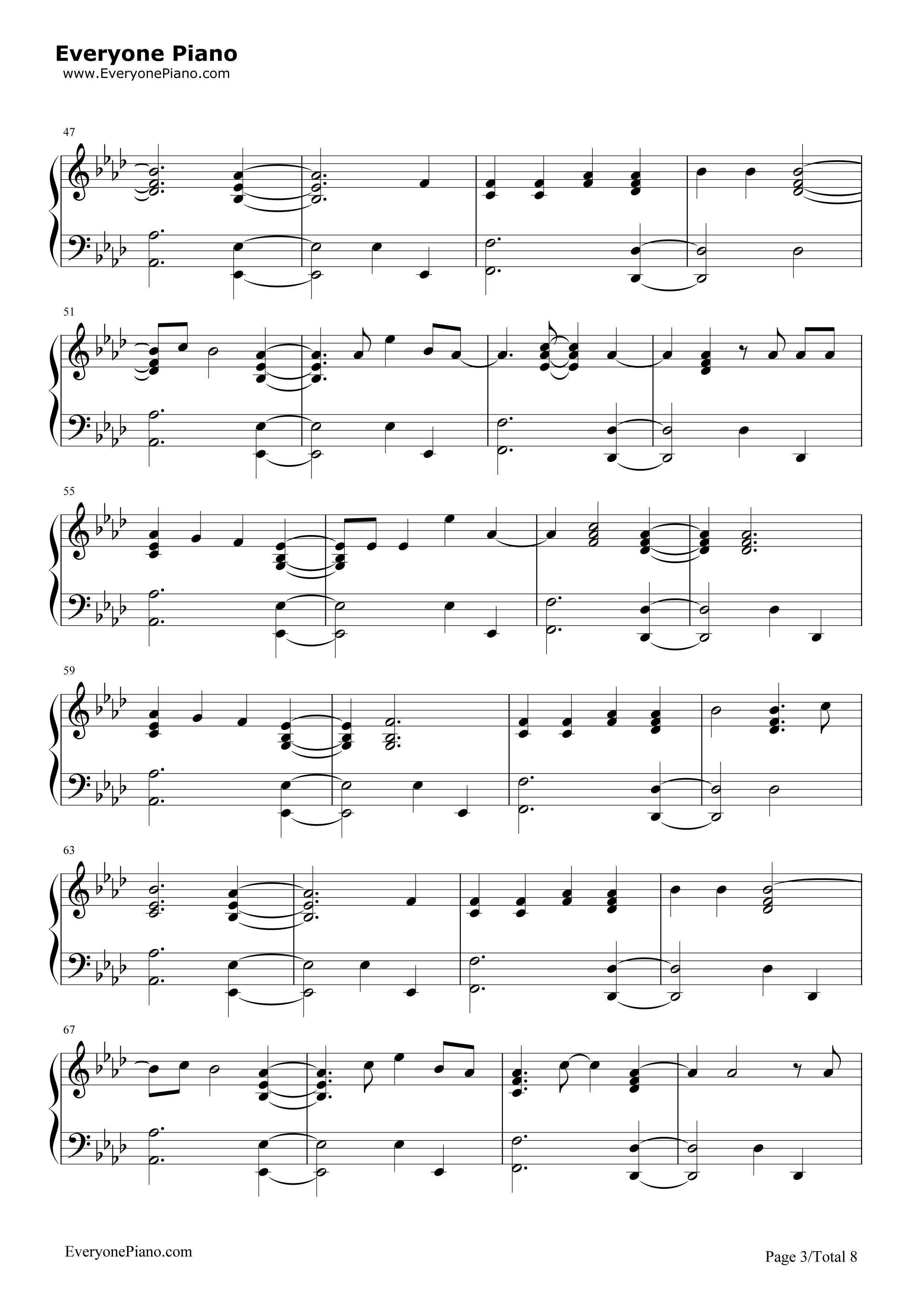 钢琴曲谱 流行 hello-钢琴版-adele hello-钢琴版-adele五线谱预览3