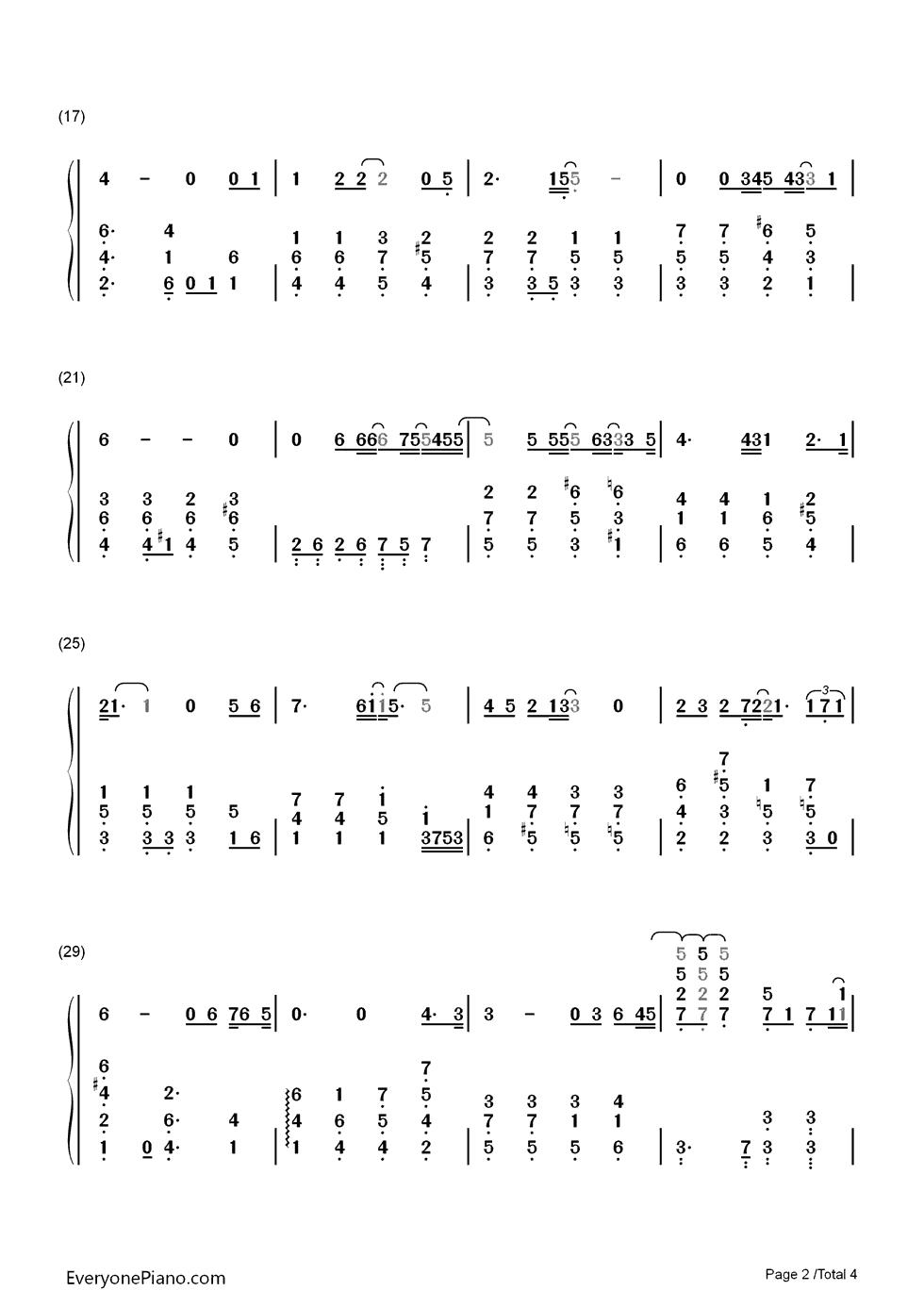 memory-冬季恋歌音乐原声双手简谱预览2-钢琴谱
