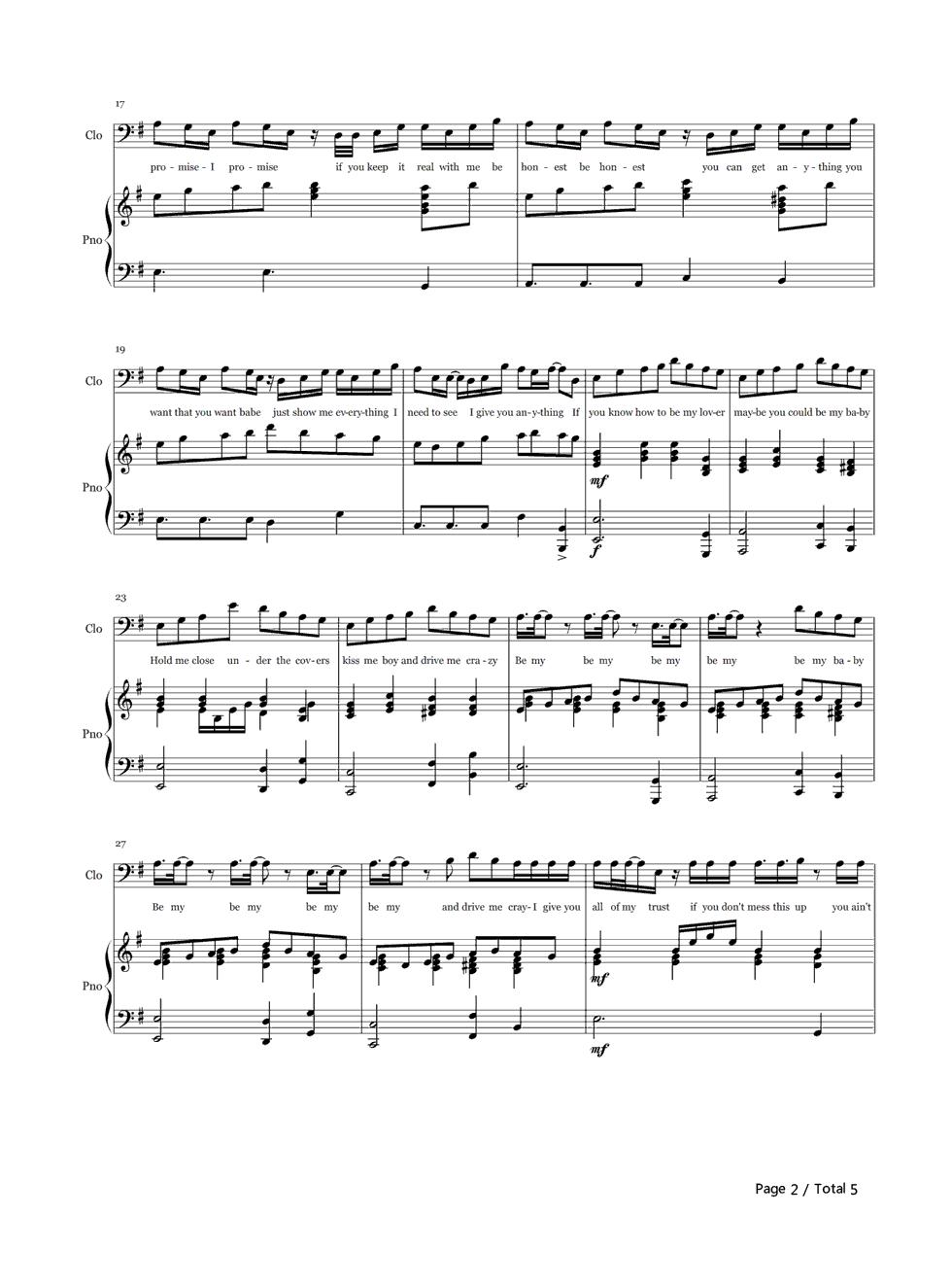 baby小提琴五线谱