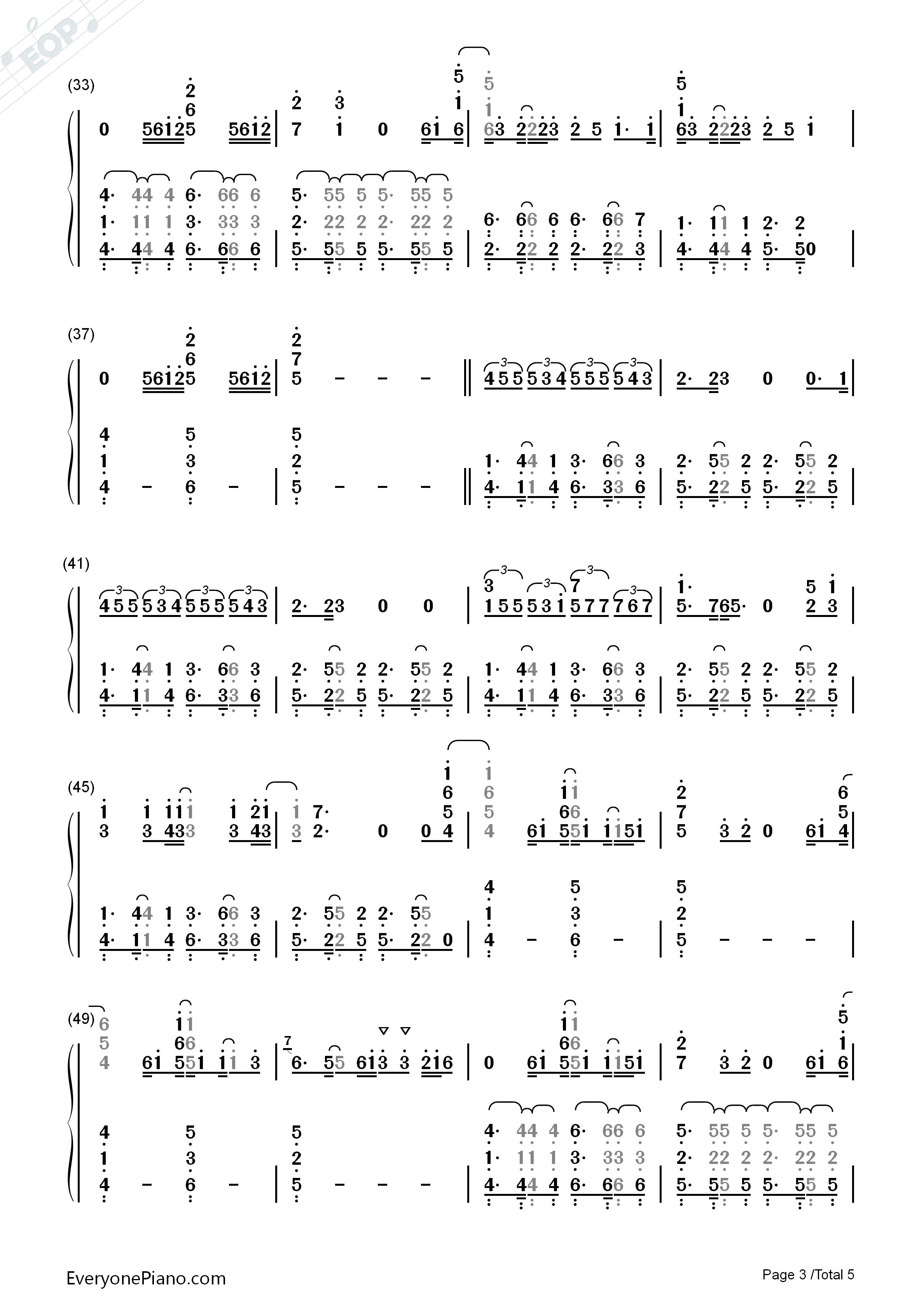 bieber双手简谱预览3-钢琴谱