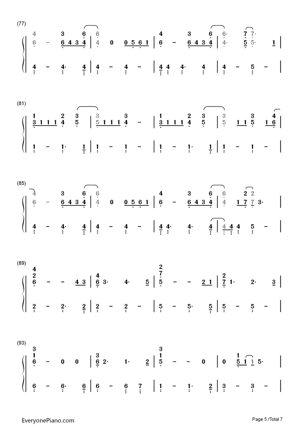 princess of china-coldplay双手简谱预览5-钢琴谱(,)
