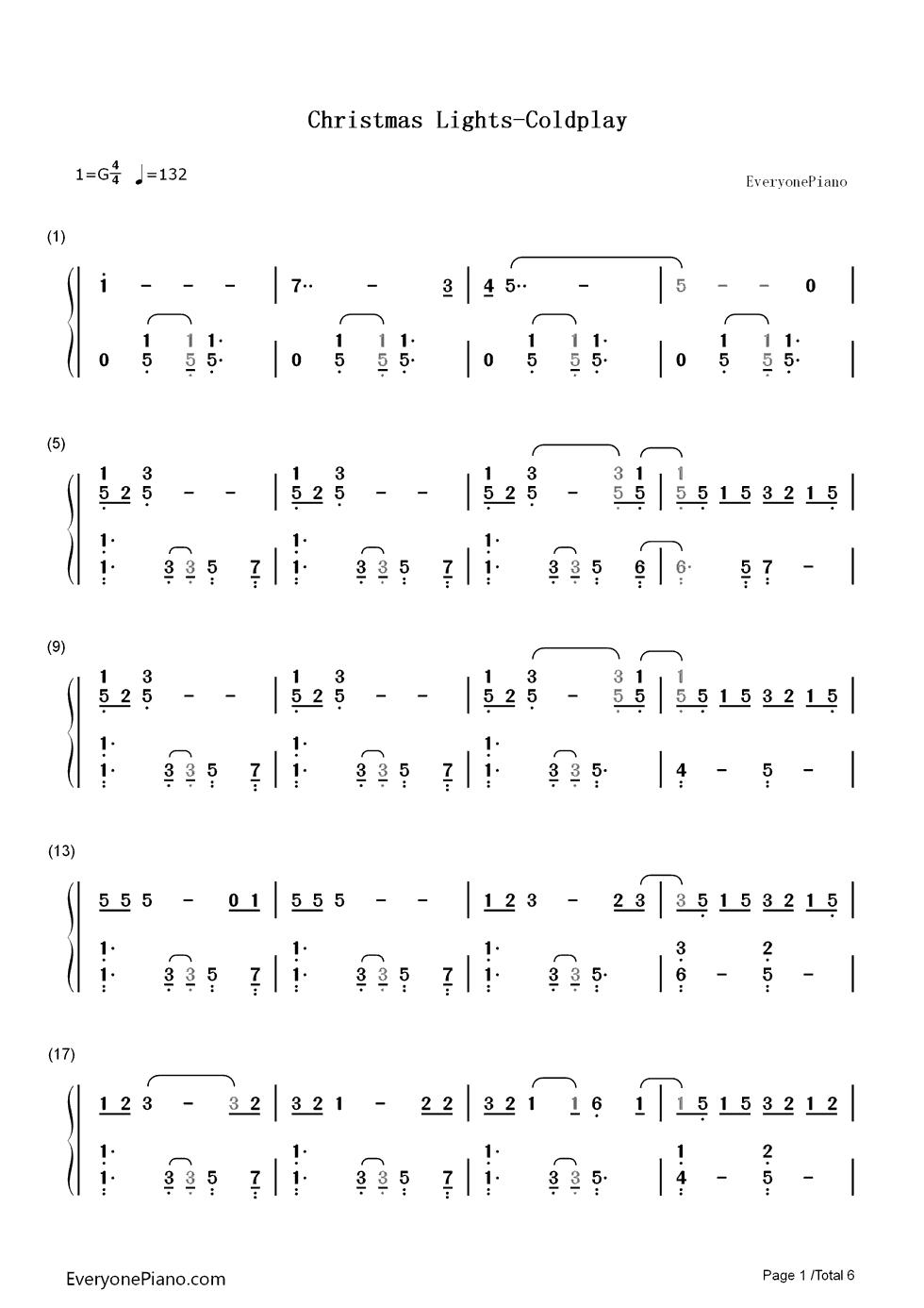 christmas lights-coldplay双手简谱预览1-钢琴谱档