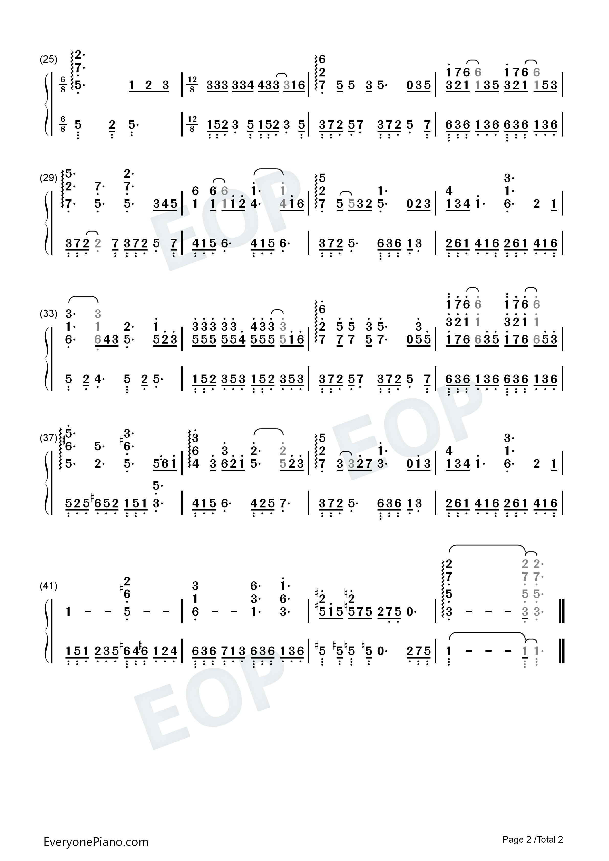 老街-李荣浩双手简谱预览2-钢琴谱